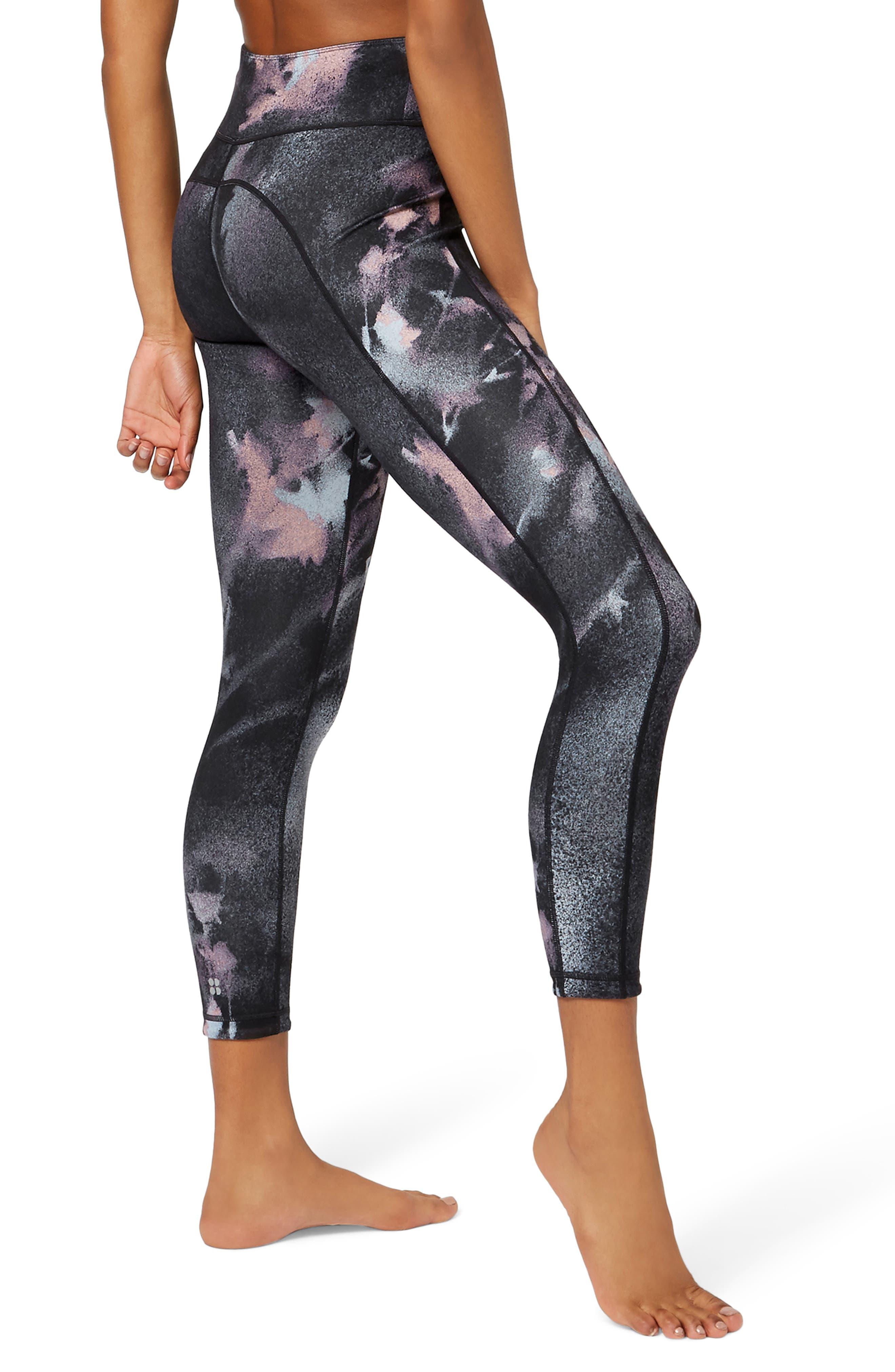 Double Duty Reversible Yoga Leggings,                             Alternate thumbnail 4, color,                             BLACK SPRAY PAINT FLORAL