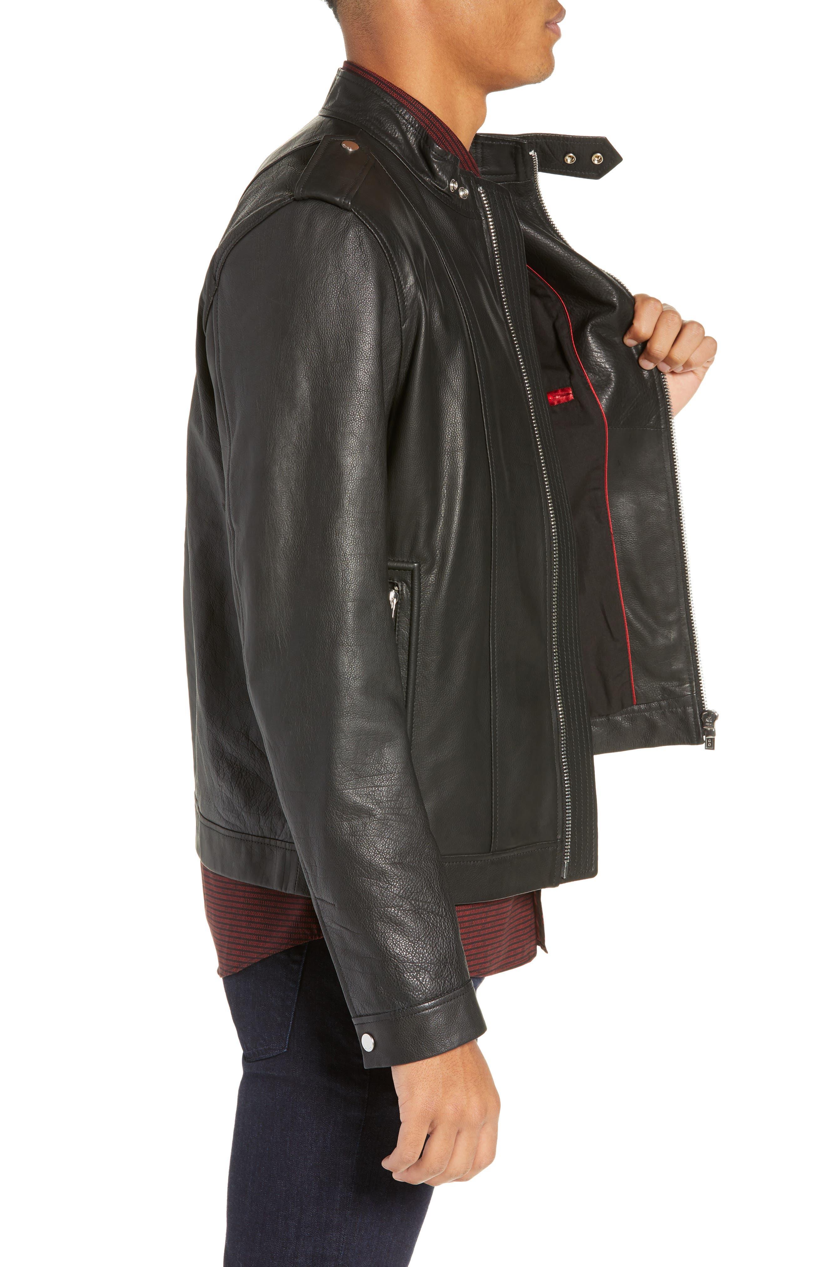 Lector Slim Leather Jacket,                             Alternate thumbnail 3, color,                             BLACK