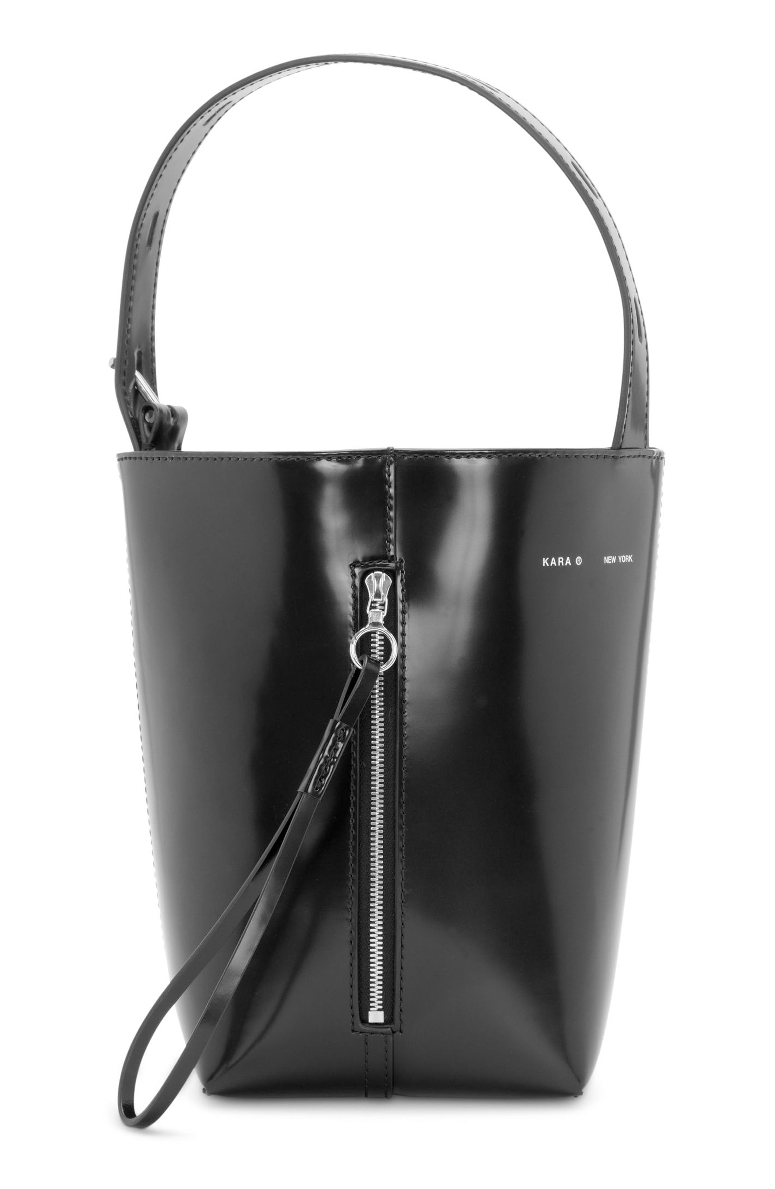 Leather Panel Pail Convertible Leather Bucket Bag,                             Alternate thumbnail 2, color,                             001