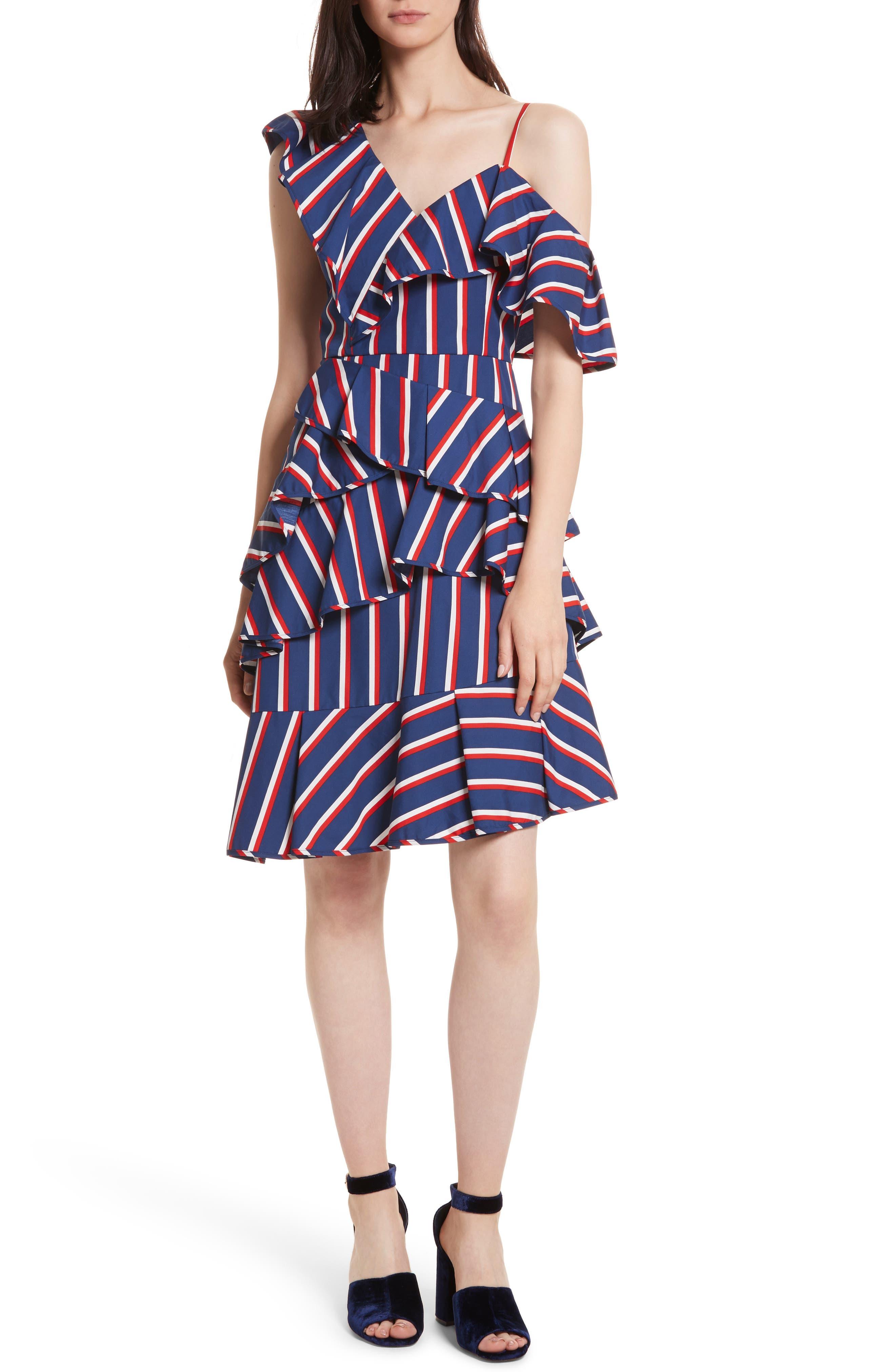 Laflora Aymmetrical Ruffle Midi Dress,                         Main,                         color, 475