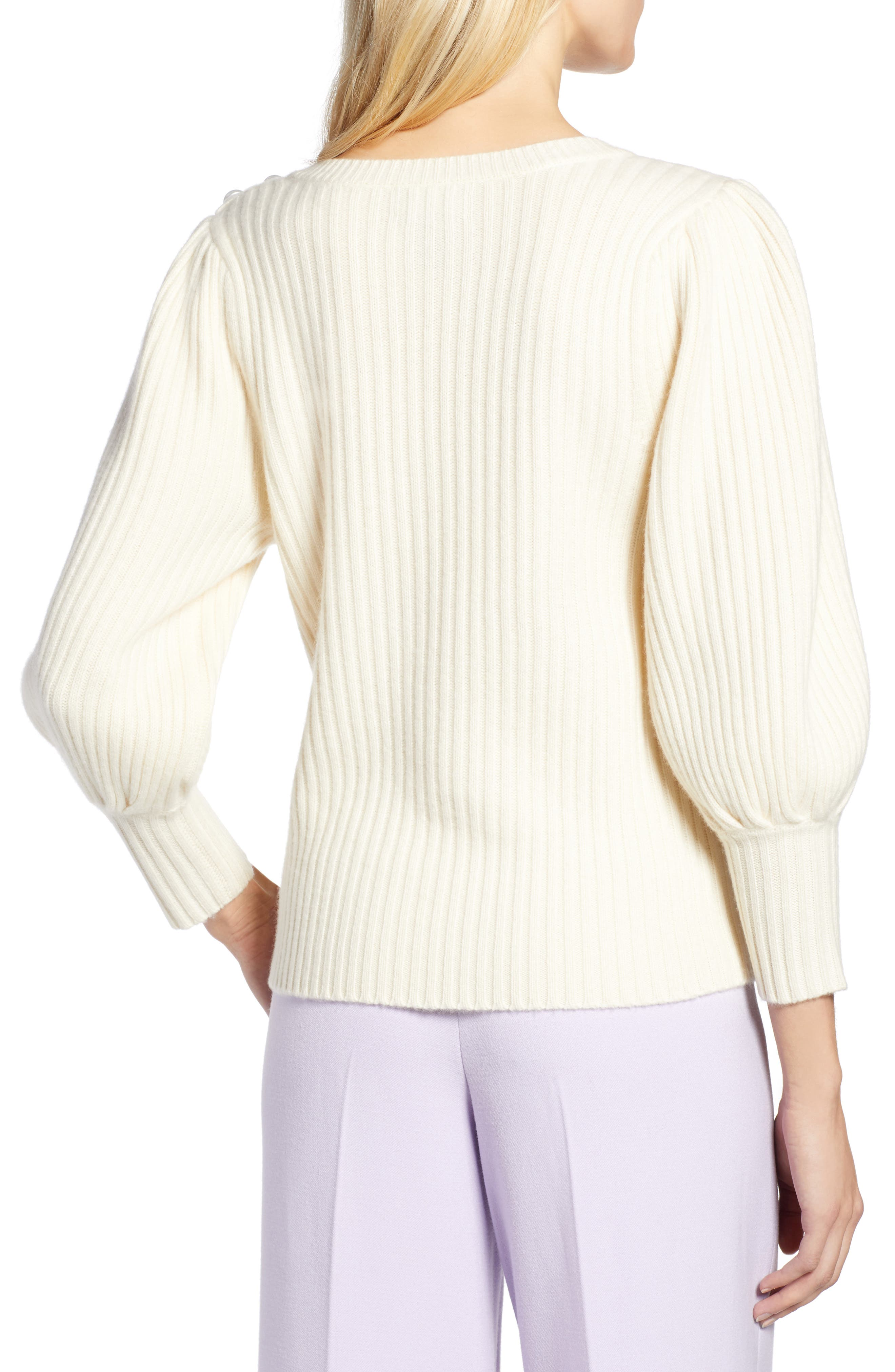 x Atlantic-Pacific Balloon Sleeve Wool & Cashmere Sweater,                             Alternate thumbnail 3, color,                             900