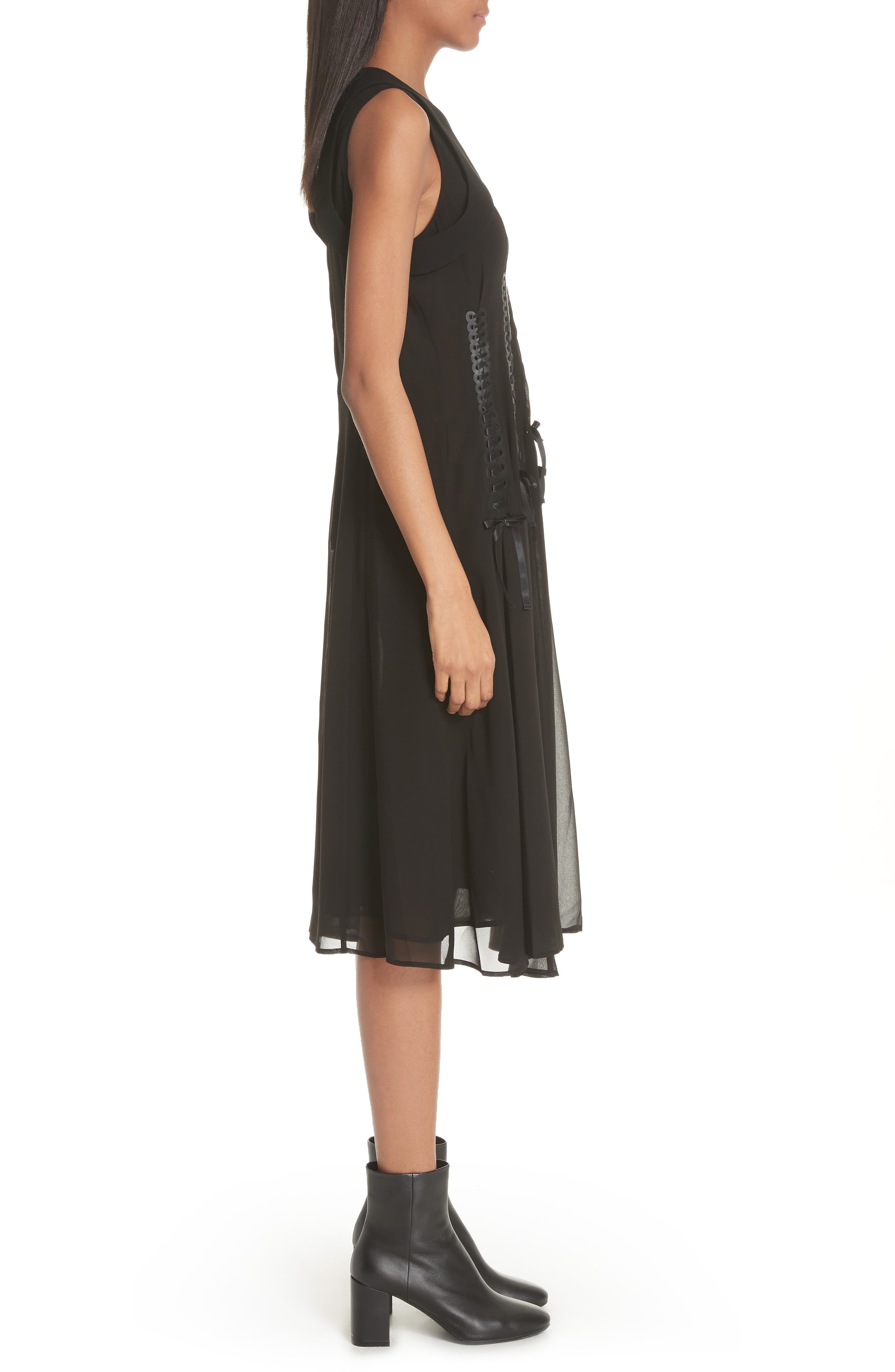 Ribbon Bodice Dress,                             Alternate thumbnail 3, color,                             001