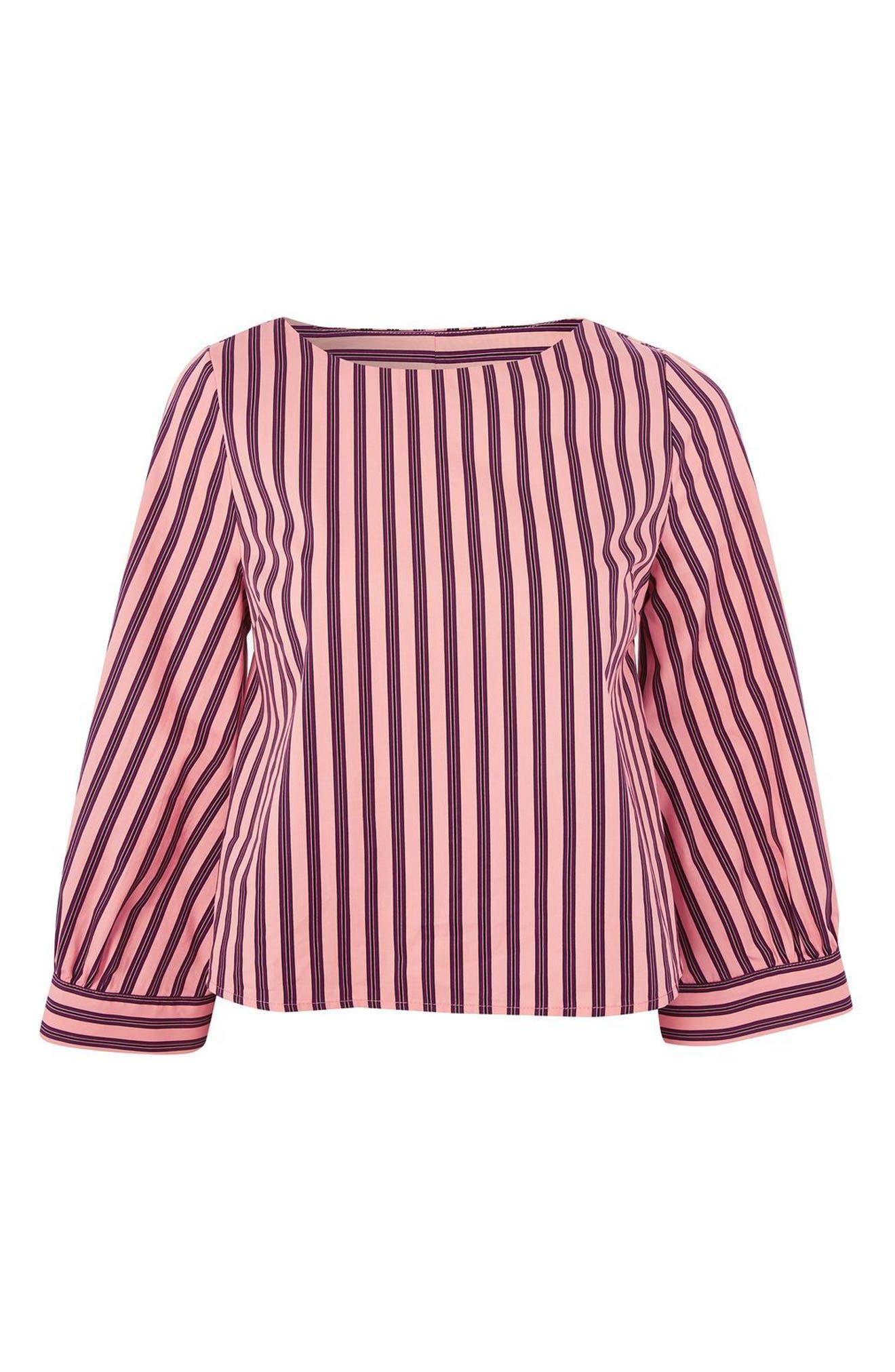 Stripe Wide Sleeve Top,                             Alternate thumbnail 4, color,                             660