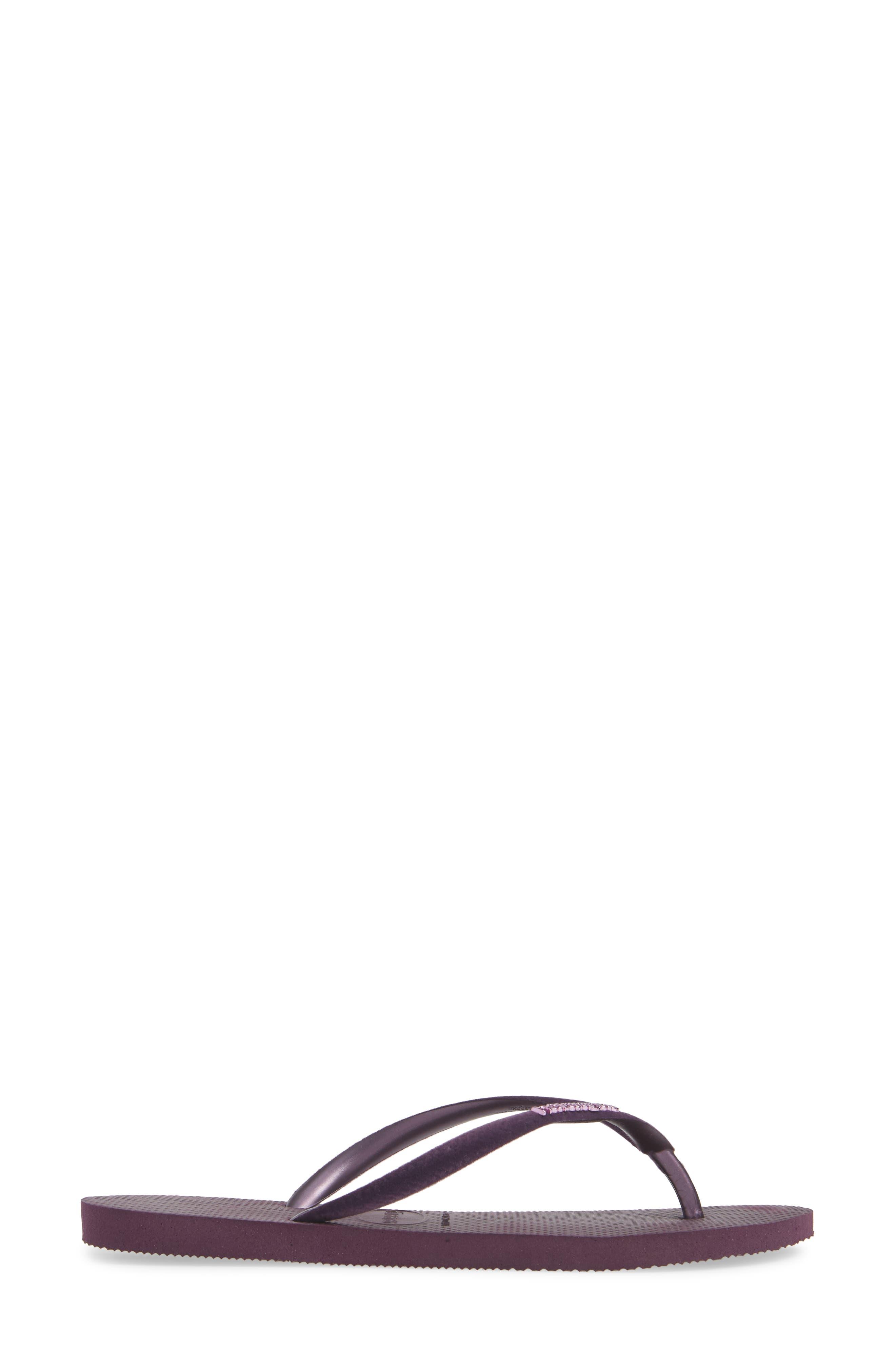 Slim Velvet Flip Flop,                             Alternate thumbnail 3, color,                             AUBERGINE
