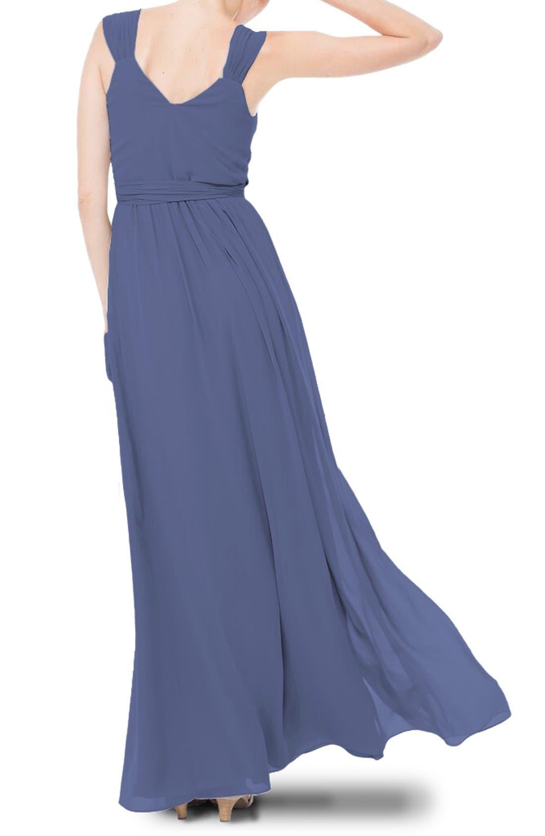 Newbury Gathered Sleeve Chiffon Wrap Gown,                             Alternate thumbnail 16, color,