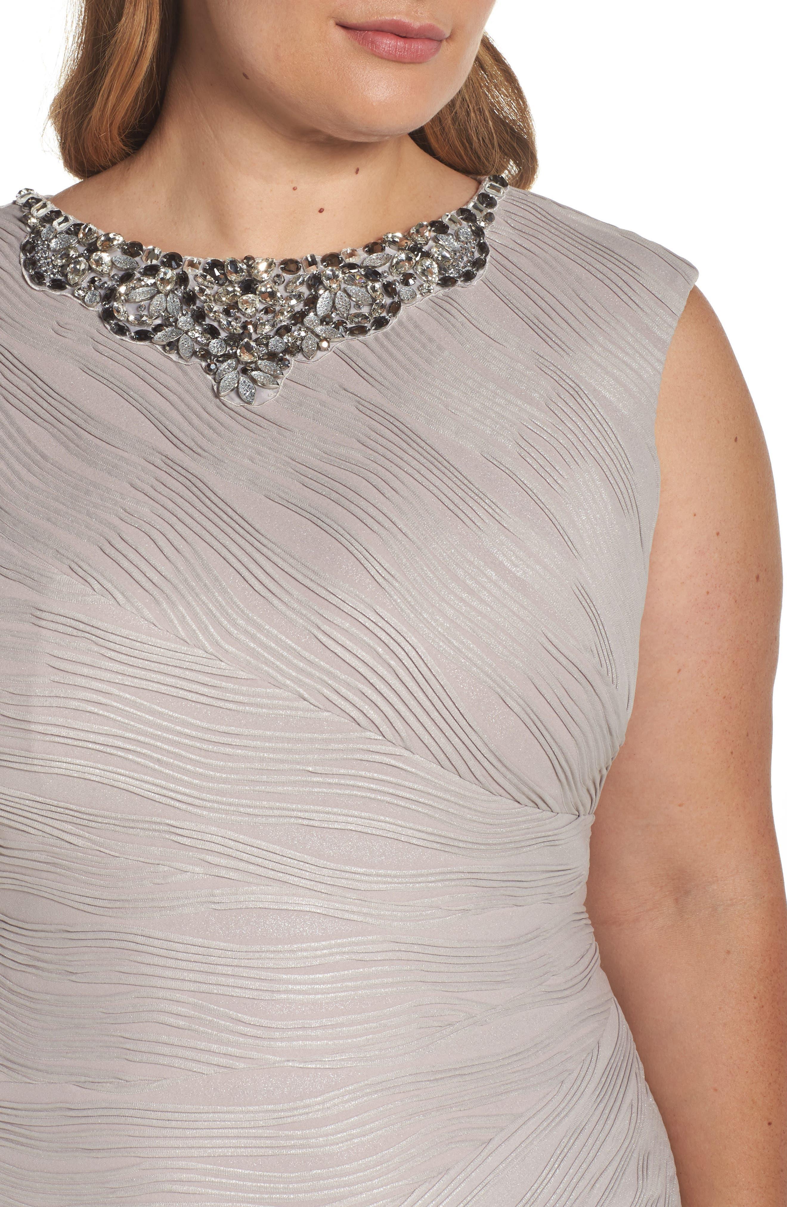 Embellished Neckline Sheath Dress,                             Alternate thumbnail 4, color,                             256