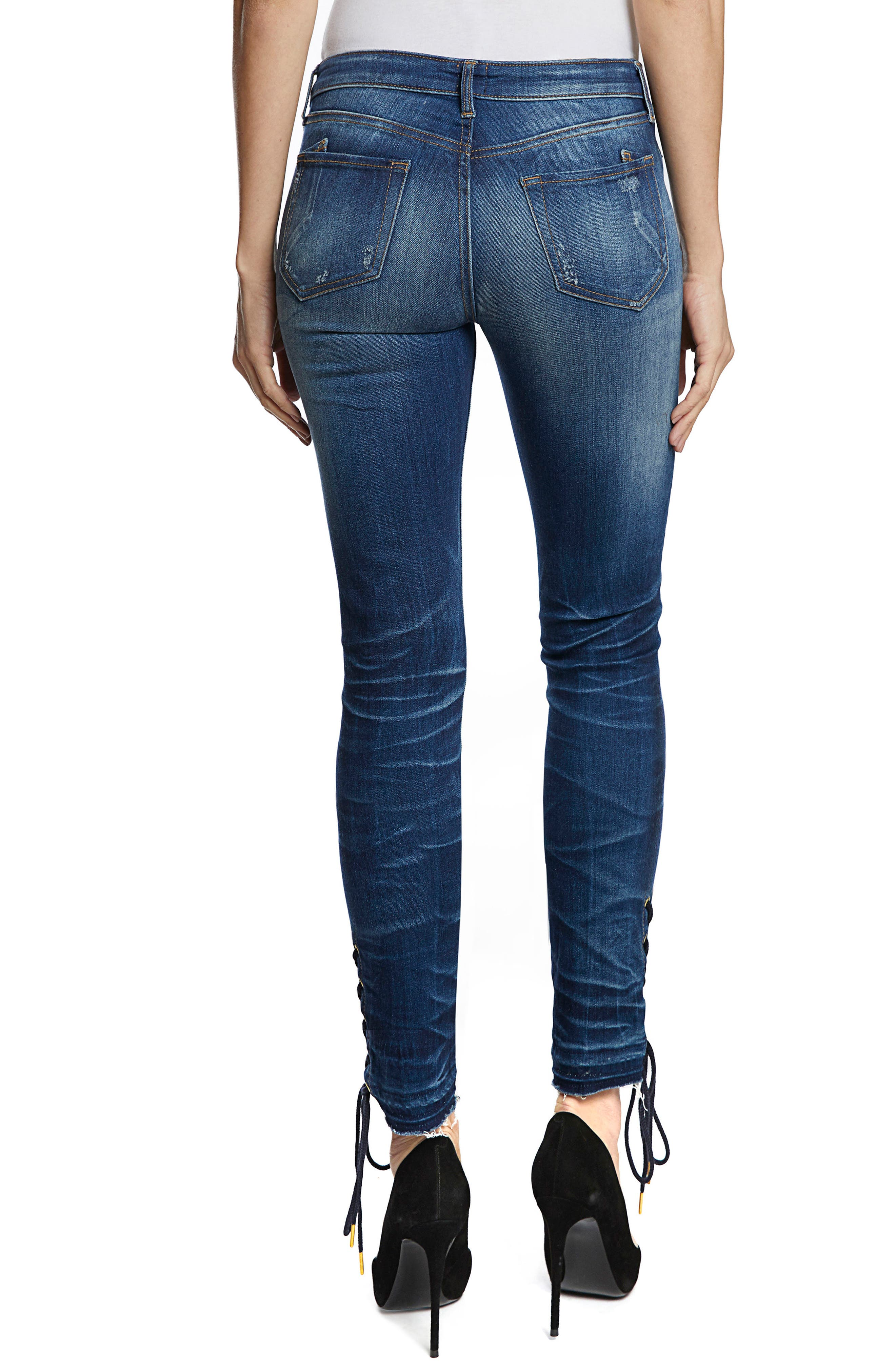 Camaro Lace-Up Ankle Skinny Jeans,                             Alternate thumbnail 2, color,                             INDIGO