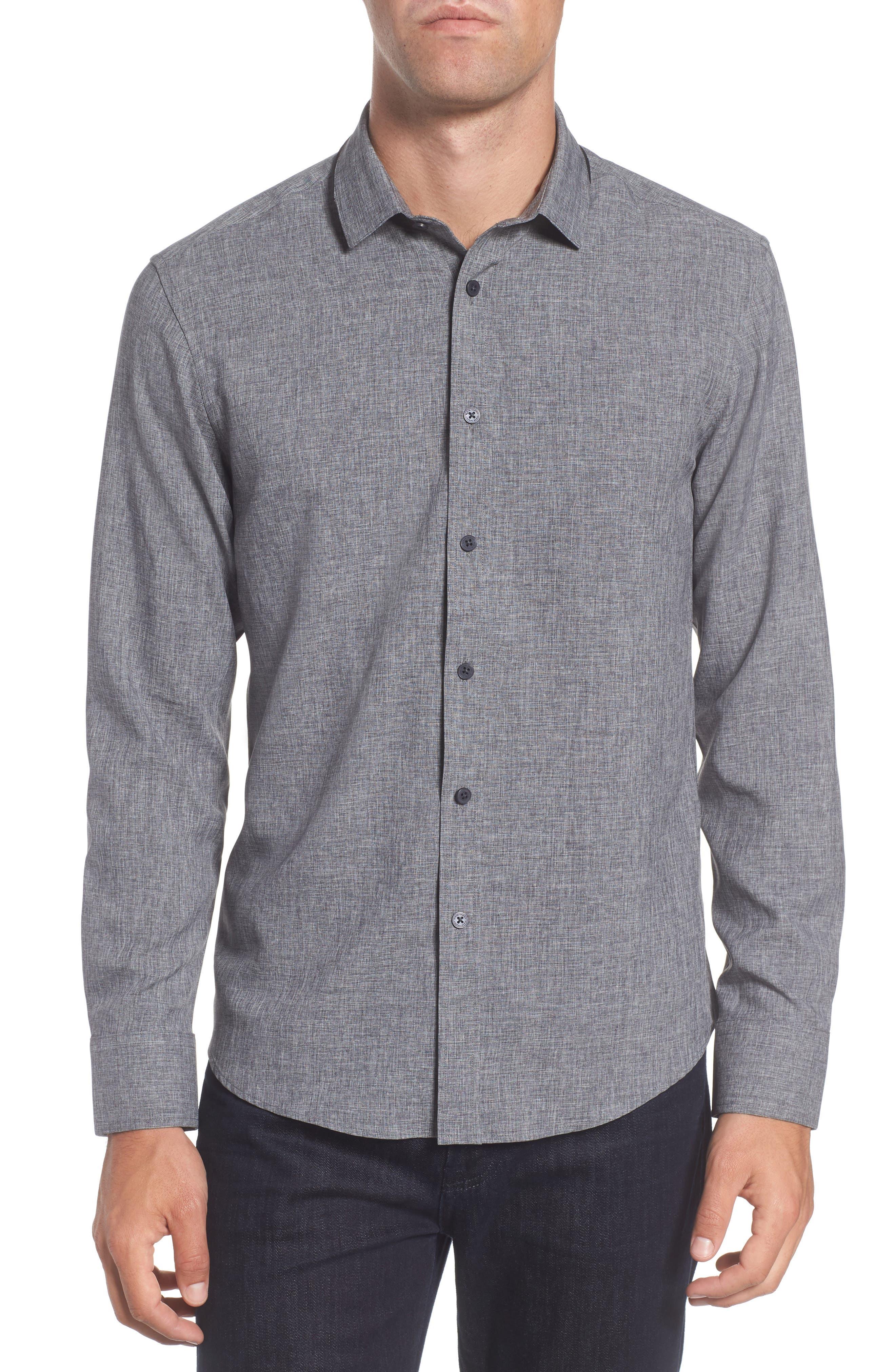 Trim Fit Performance Knit Sport Shirt,                         Main,                         color, CHARCOAL SCRATCH