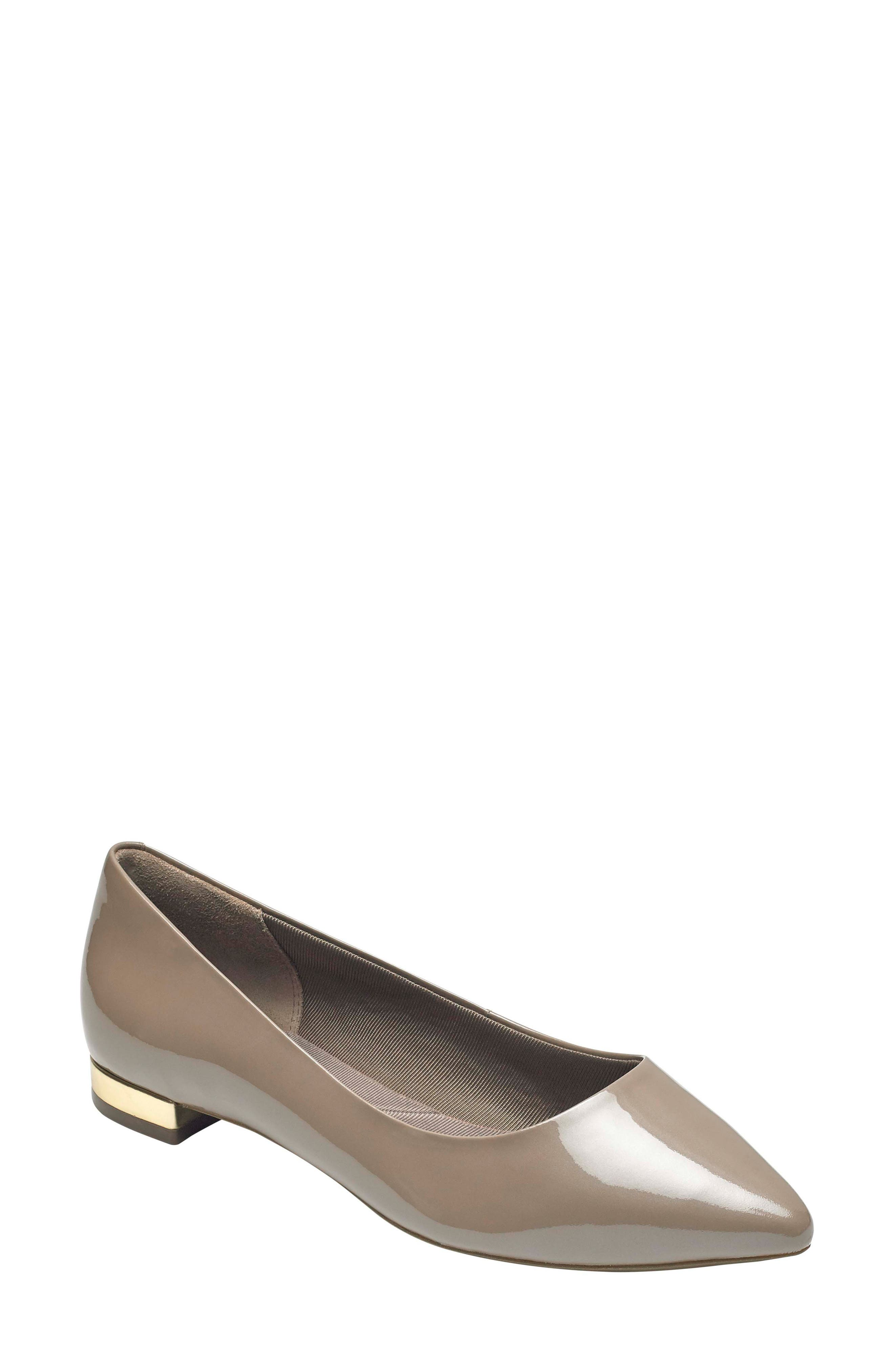 'Total Motion - Adelyn' Ballet Flat,                             Main thumbnail 1, color,                             TAUPE GREY PEARL PATENT