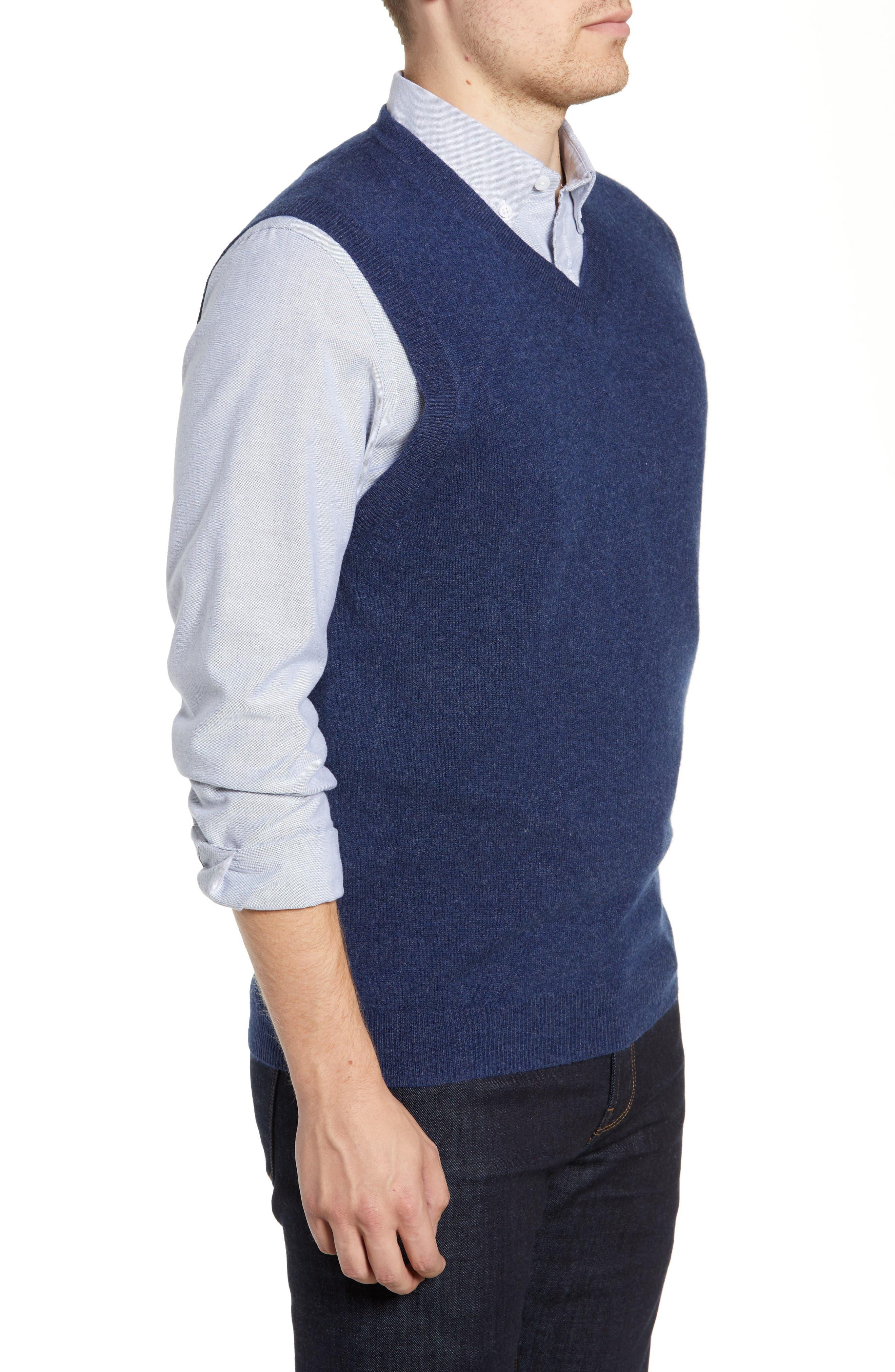 Cashmere V-Neck Sweater Vest,                             Alternate thumbnail 3, color,                             BLUE ESTATE HEATHER