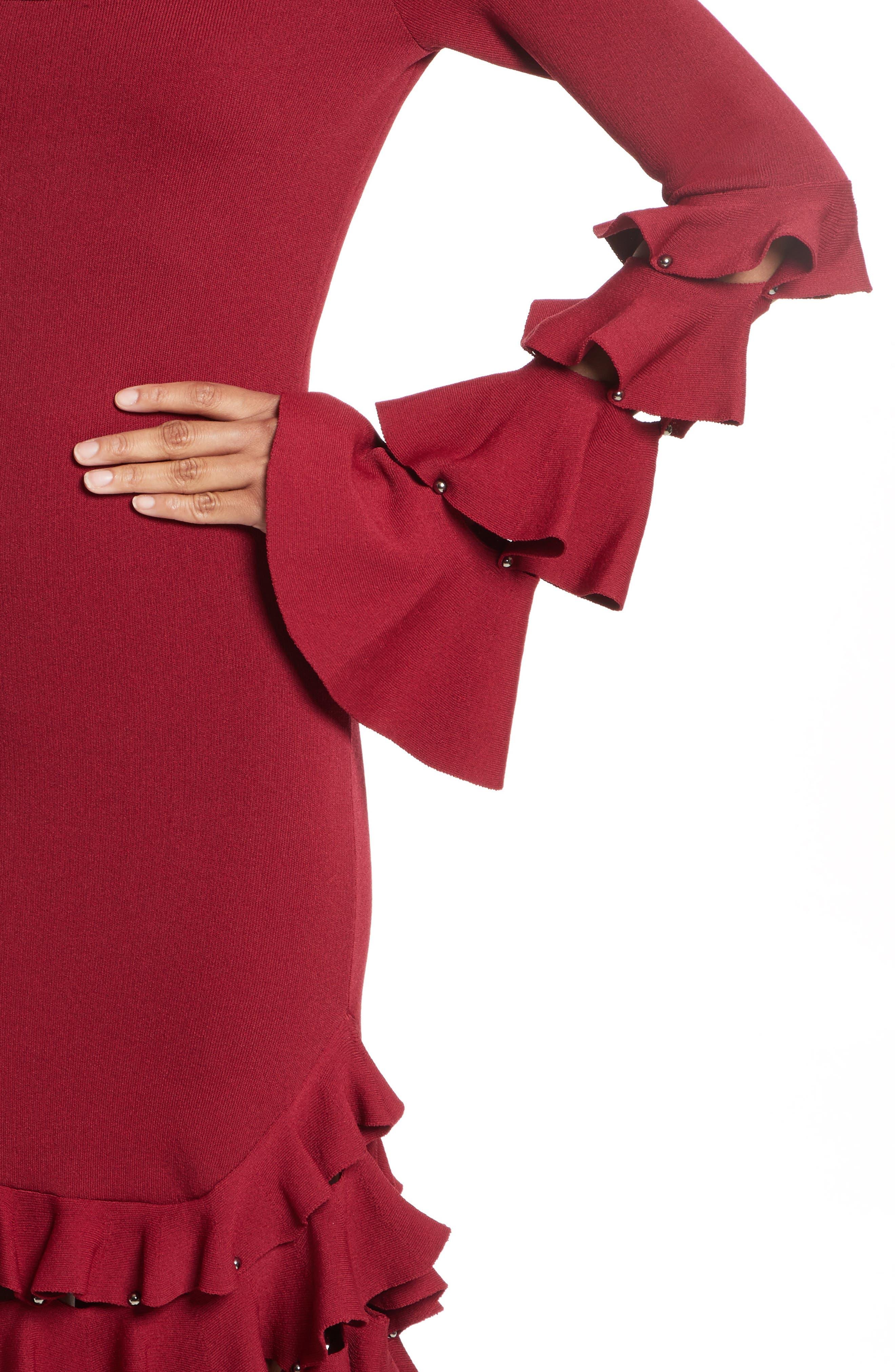 Slashed Knit Ruffle Off the Shoulder Dress,                             Alternate thumbnail 4, color,                             604