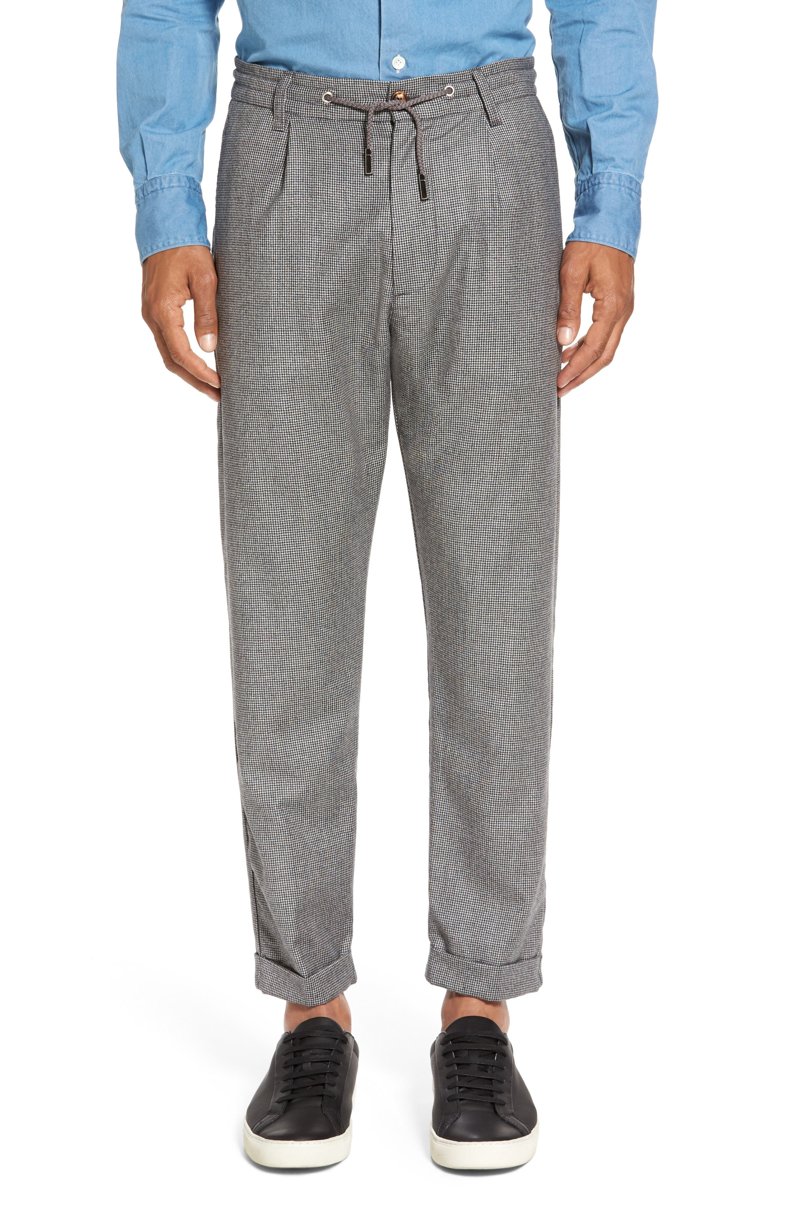 Houndstooth Wool Drawstring Jogger Pants,                             Main thumbnail 1, color,                             020