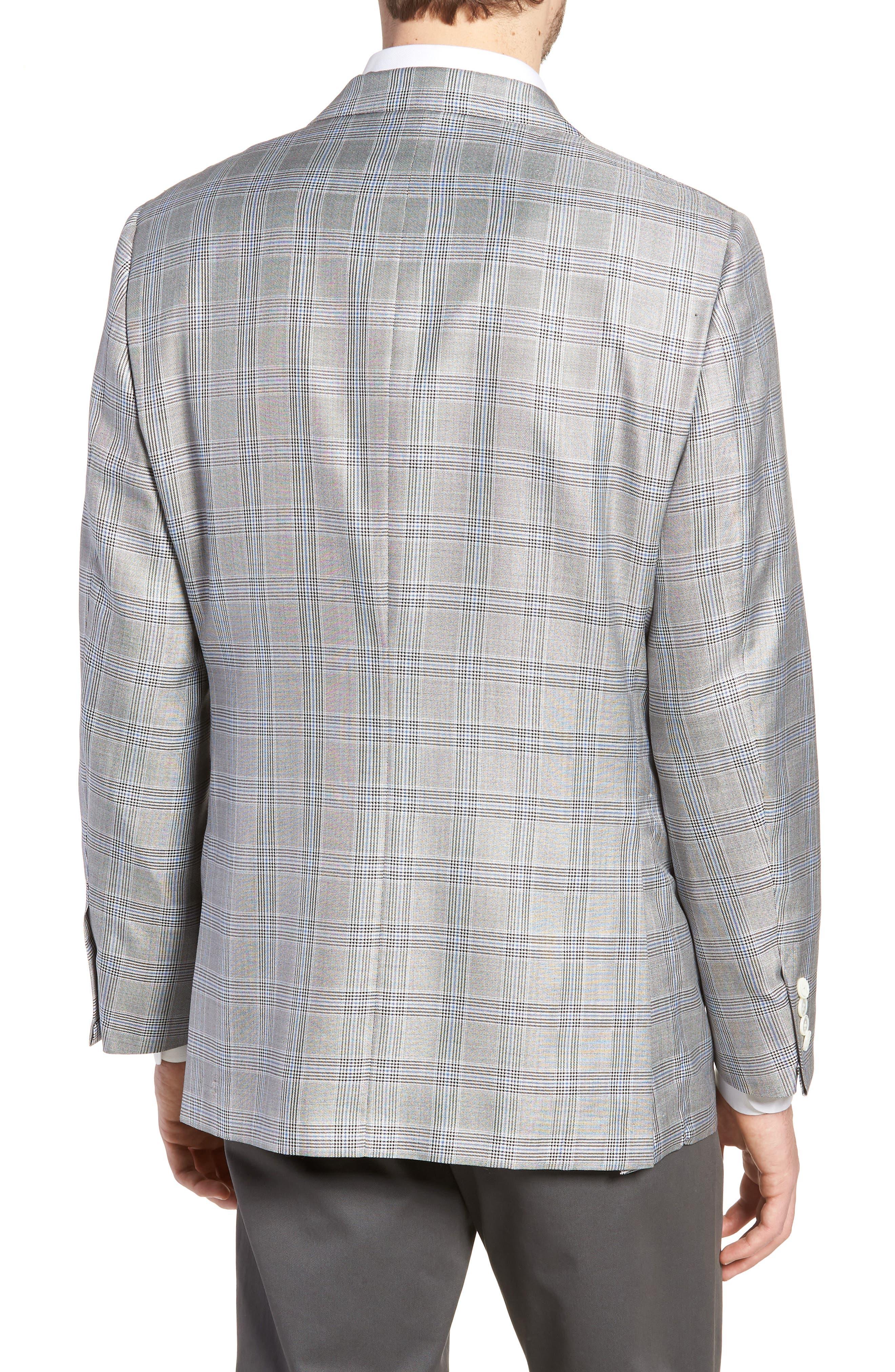 Classic B Fit Plaid Silk & Wool Sport Coat,                             Alternate thumbnail 2, color,                             001