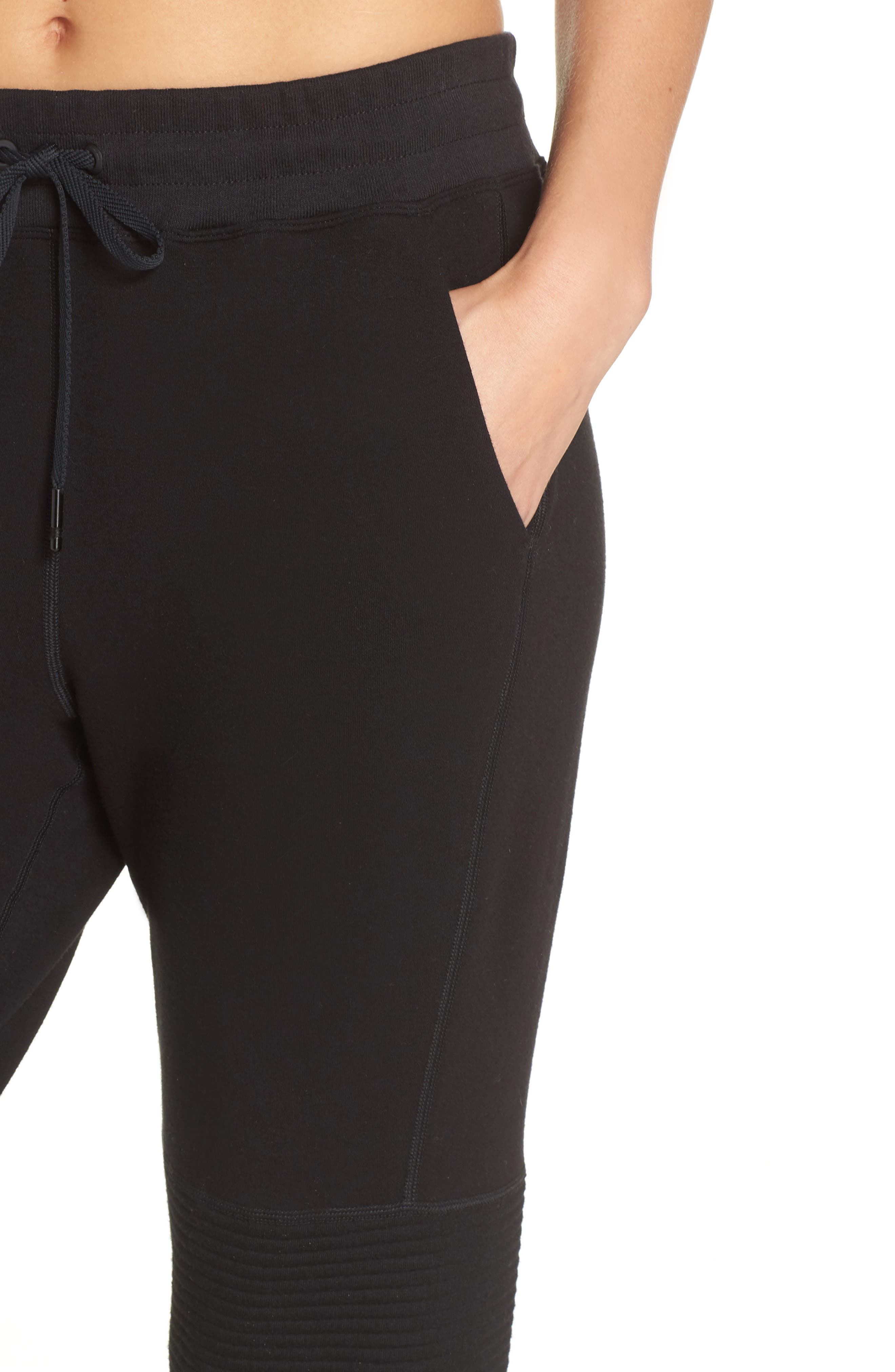 Moto Sweatpants,                             Alternate thumbnail 4, color,                             BLACK
