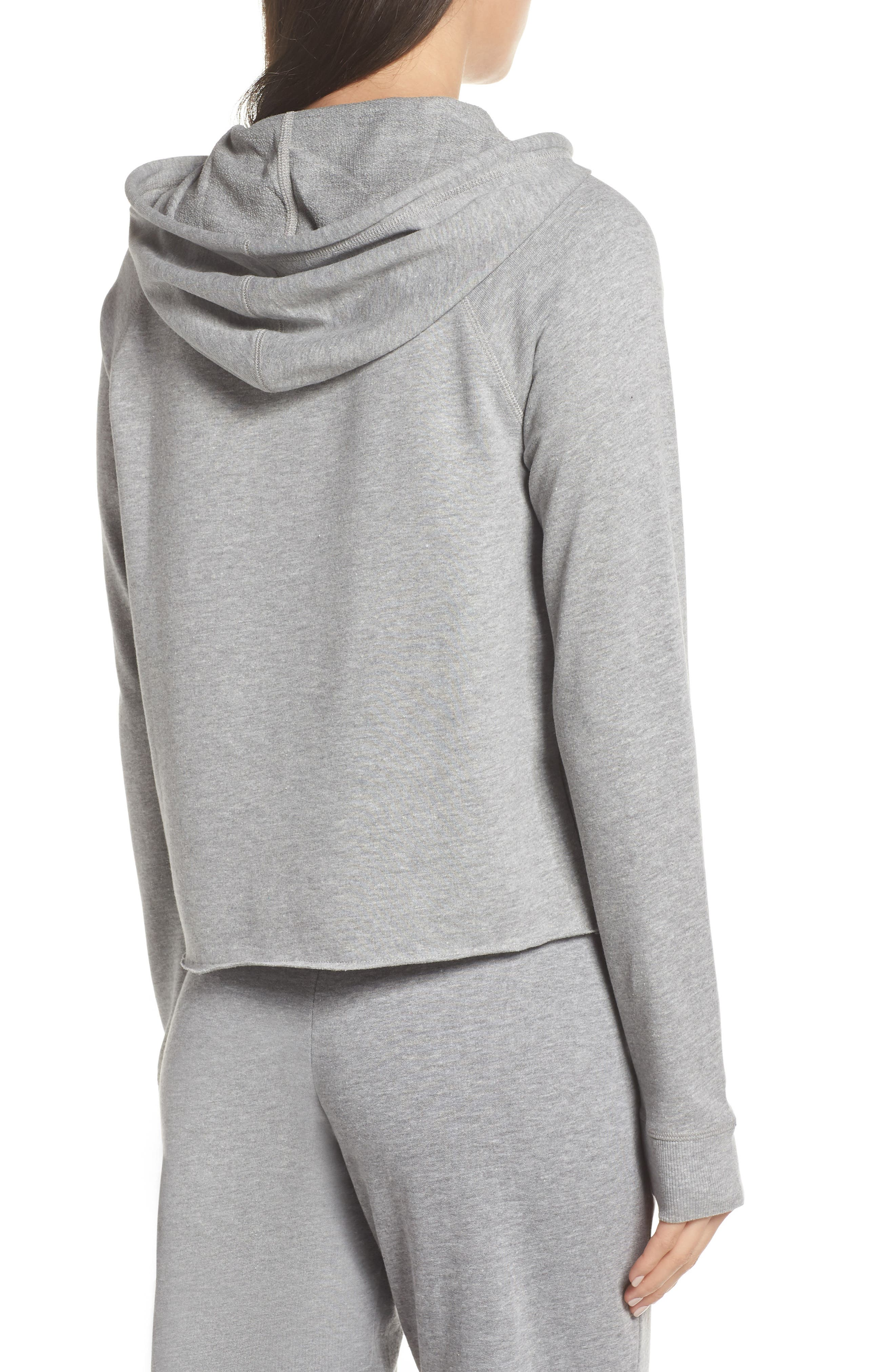 Cropped Lounge Hoodie,                             Alternate thumbnail 2, color,                             HEATHER GREY