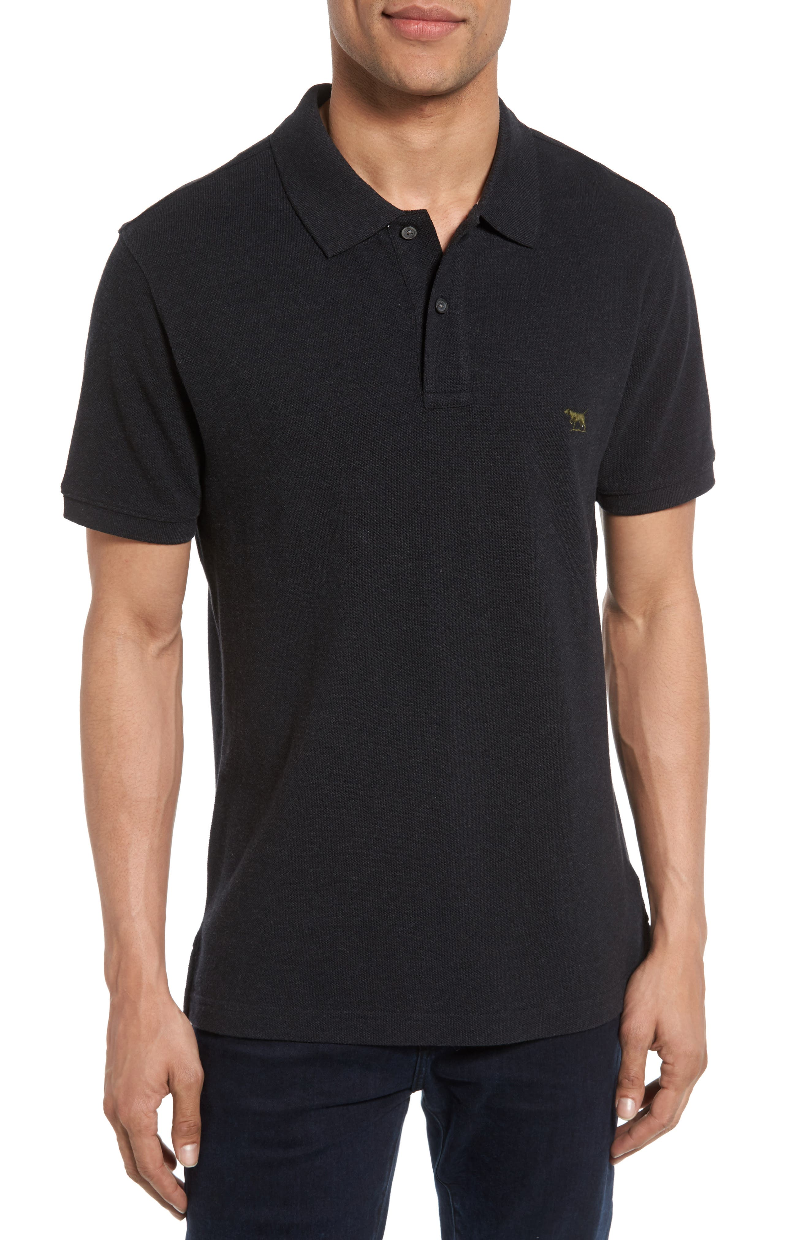 'The Gunn' Piqué Sports Fit Cotton Polo,                             Main thumbnail 1, color,                             CHARCOAL