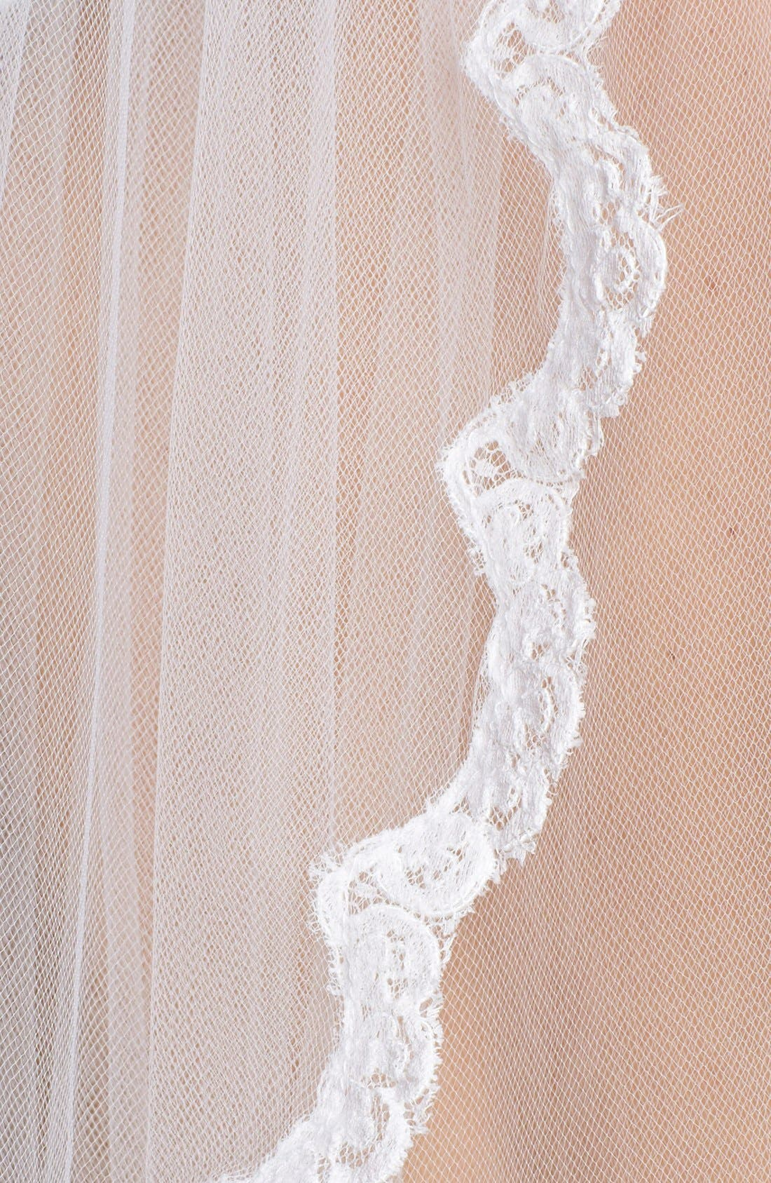 'Lola' Lace Border Veil,                             Alternate thumbnail 2, color,                             DIAMOND WHITE