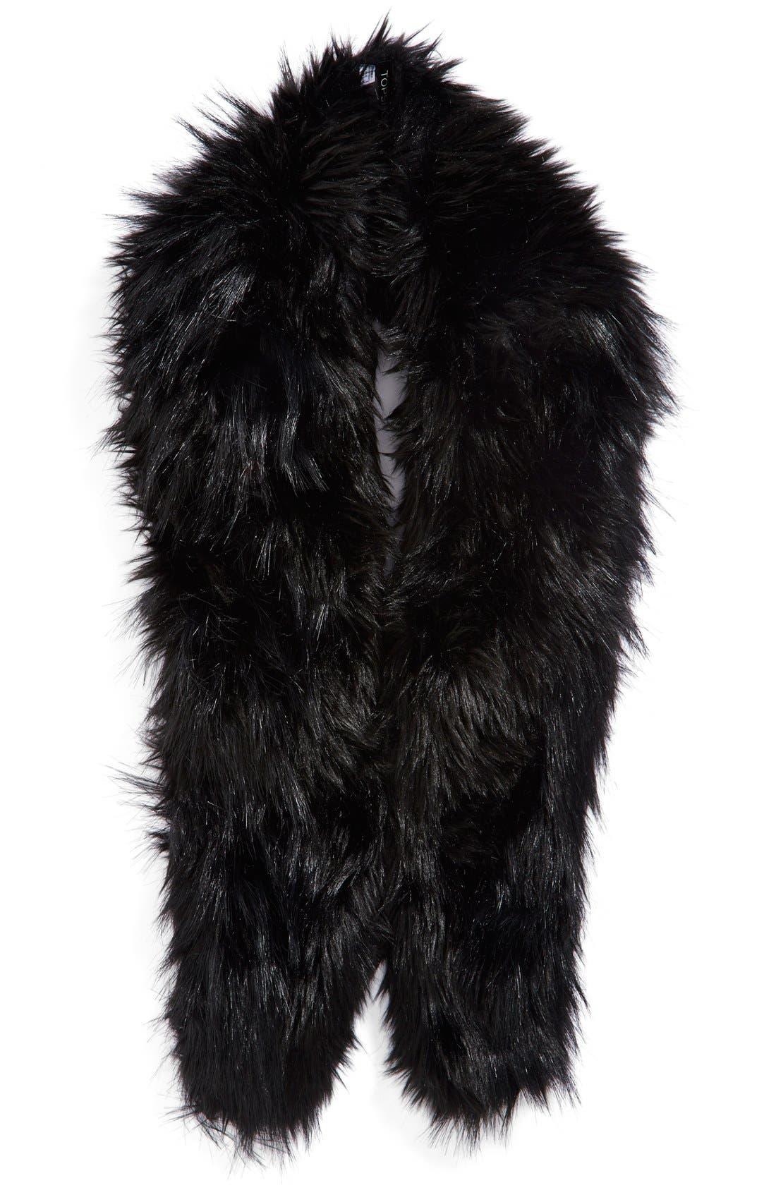 Faux Fur Stole,                             Main thumbnail 1, color,                             001