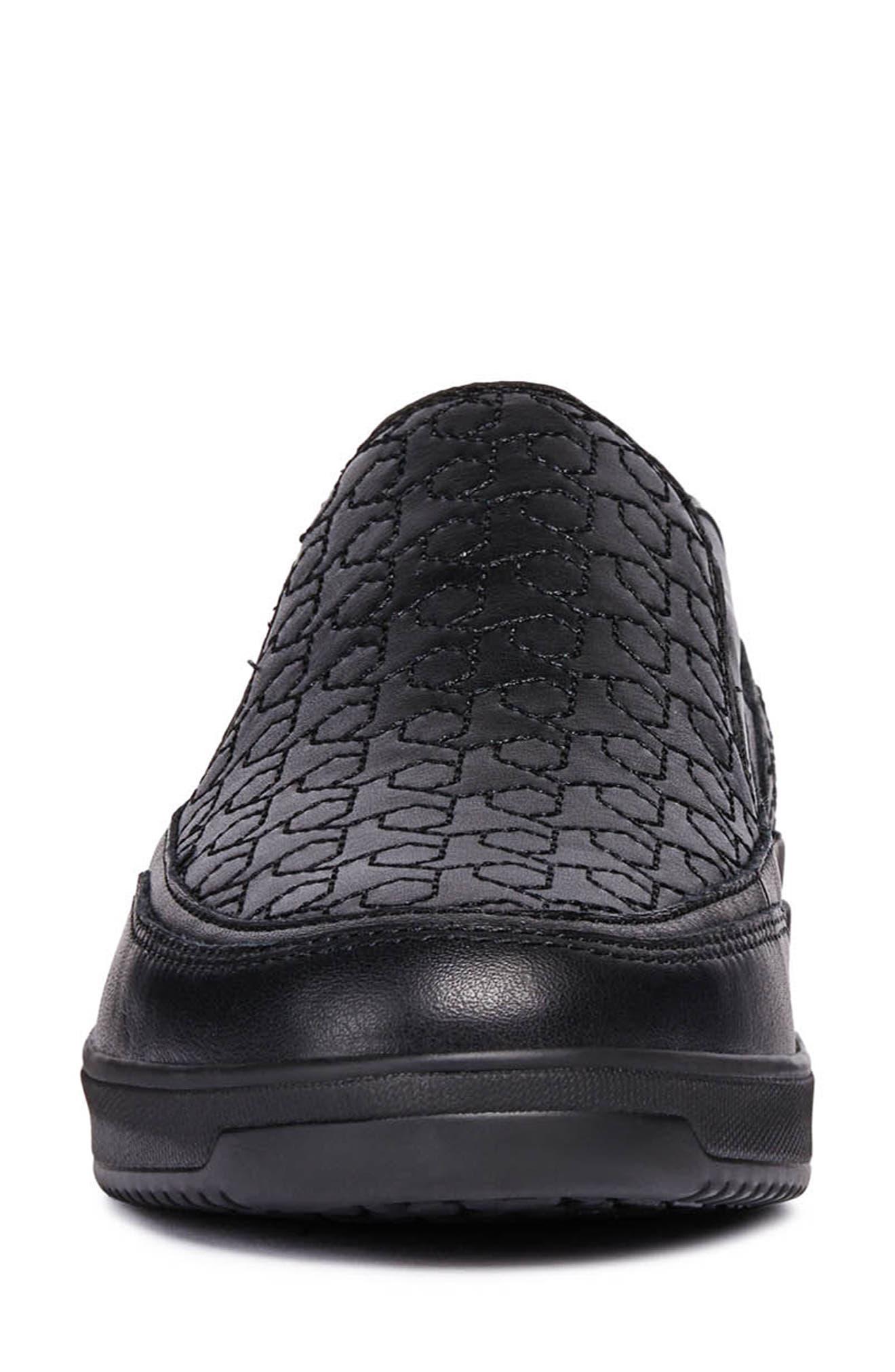 Tahina Slip-On Sneaker,                             Alternate thumbnail 4, color,                             BLACK FABRIC
