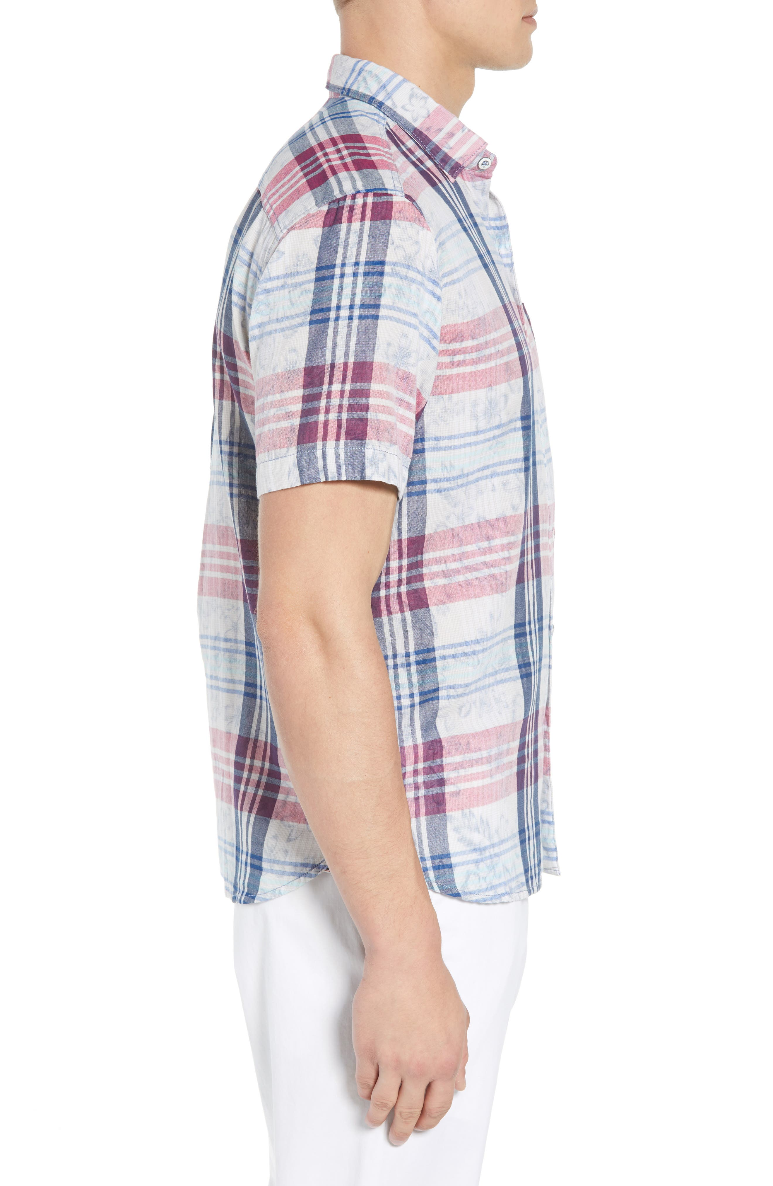 Zuma Plaid Sport Shirt,                             Alternate thumbnail 3, color,                             OCEAN DEEP
