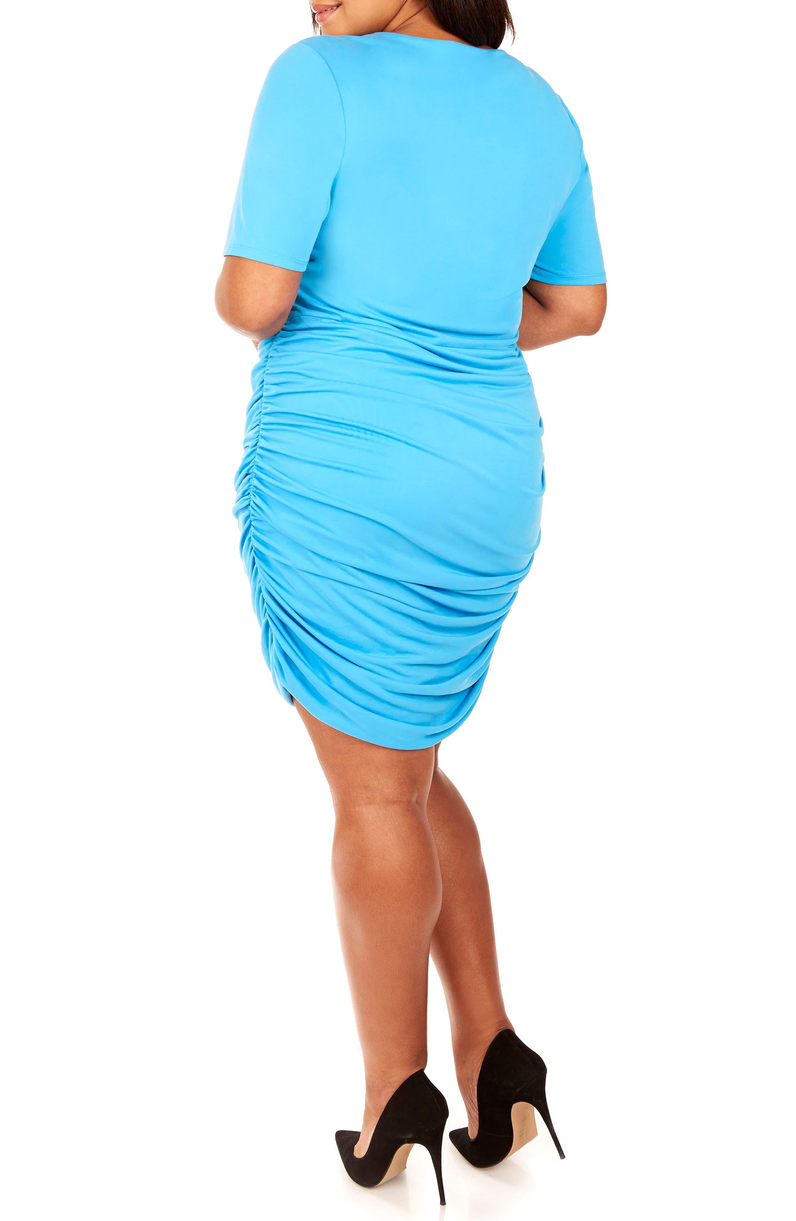 Ruched Sandwashed Jersey Dress,                             Alternate thumbnail 4, color,