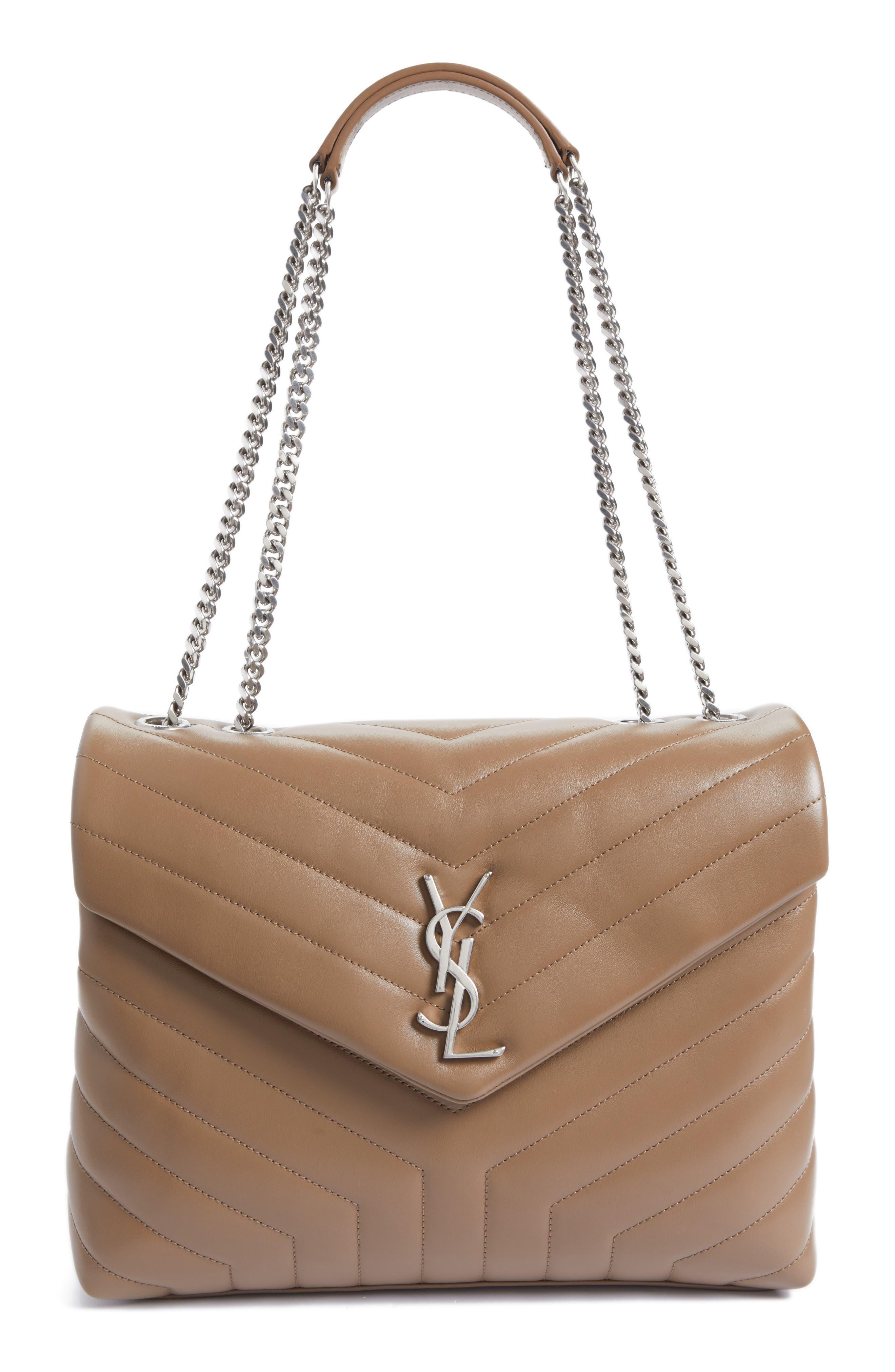 Medium Loulou Calfskin Leather Shoulder Bag - Beige in Desert Storm