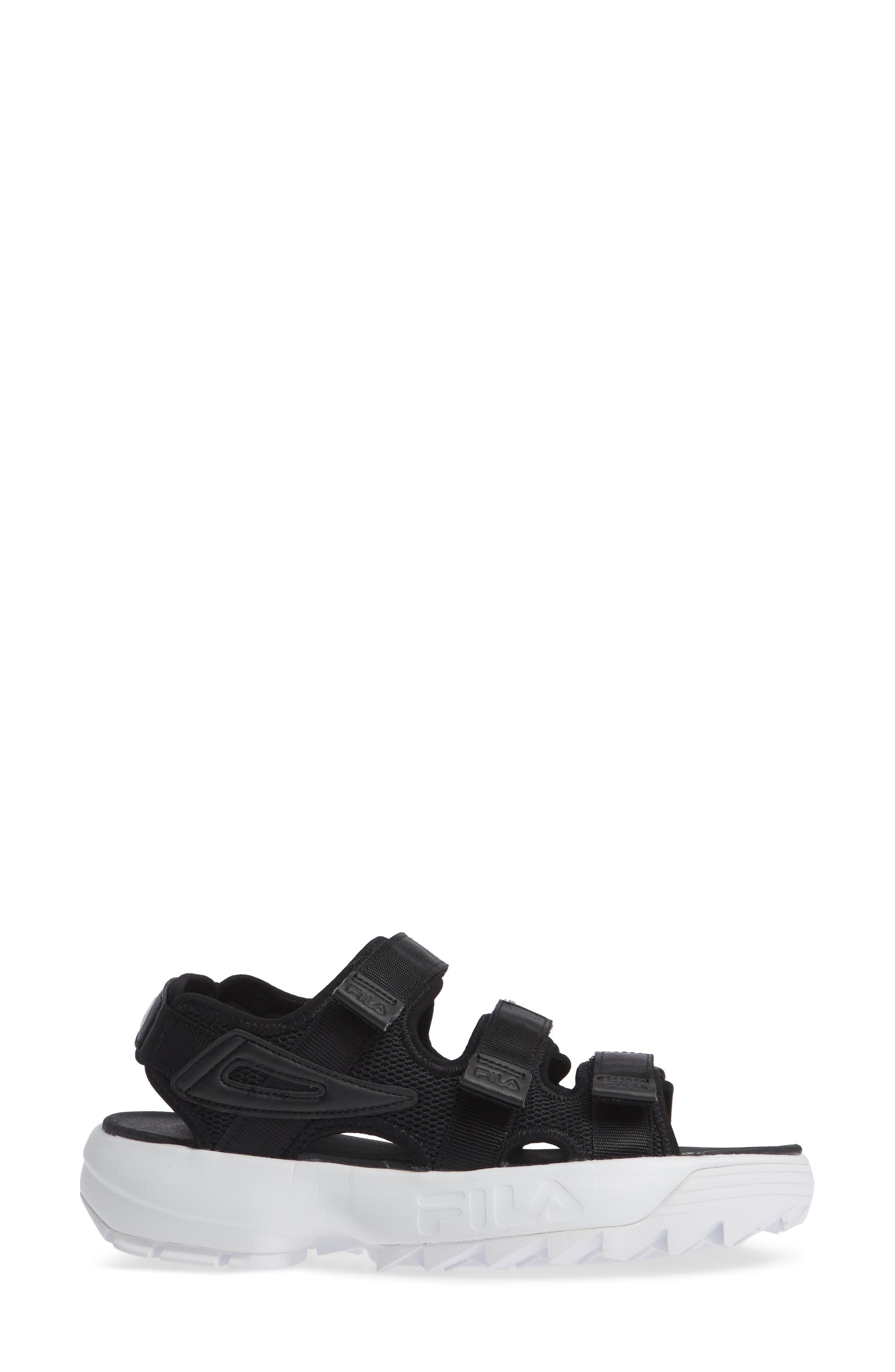 Disruptor Sandal,                             Alternate thumbnail 3, color,                             BLACK/ BLACK/ WHITE