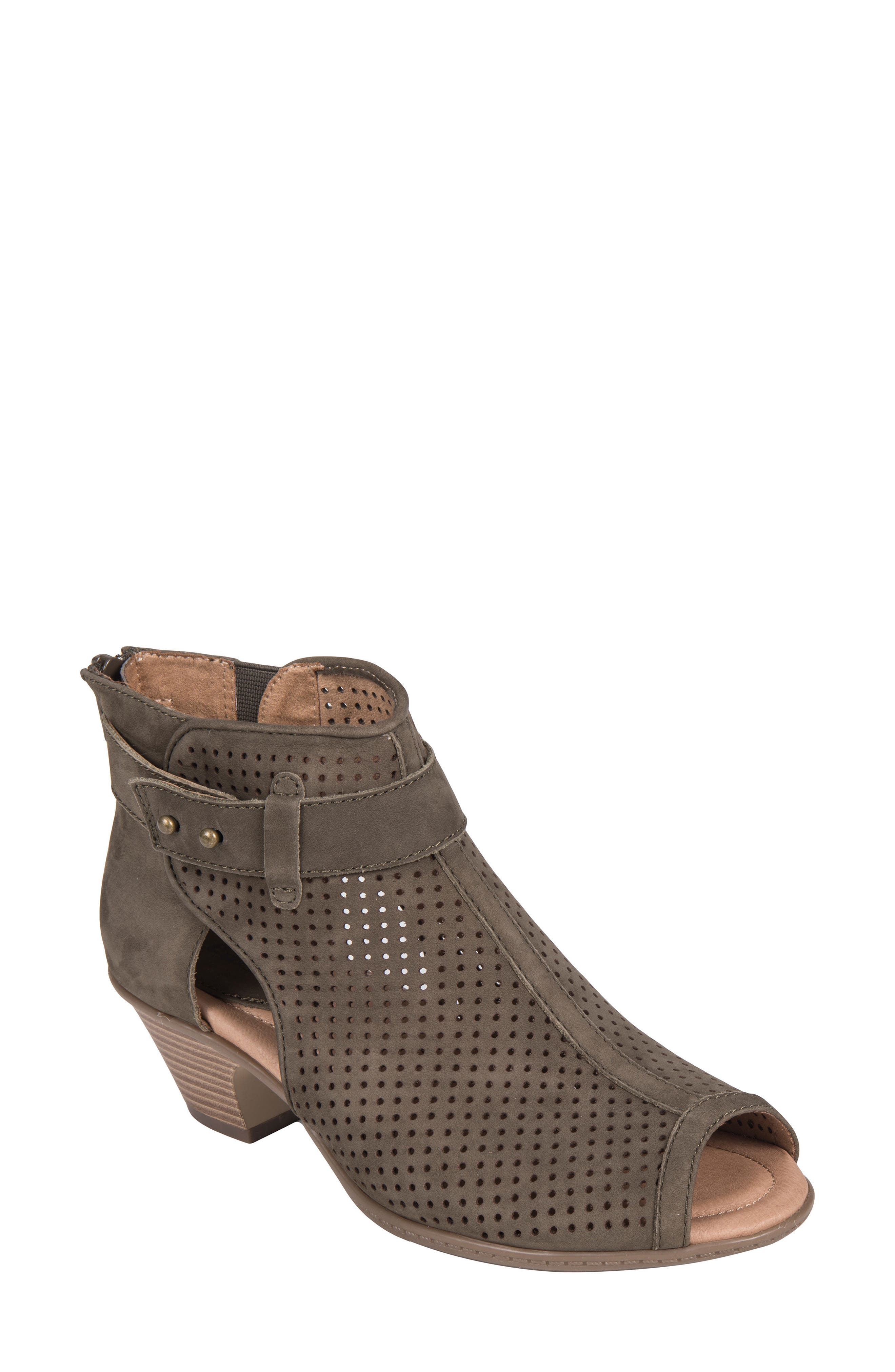 Intrepid Peep Toe Bootie,                             Main thumbnail 1, color,                             DARK OLIVE NUBUCK