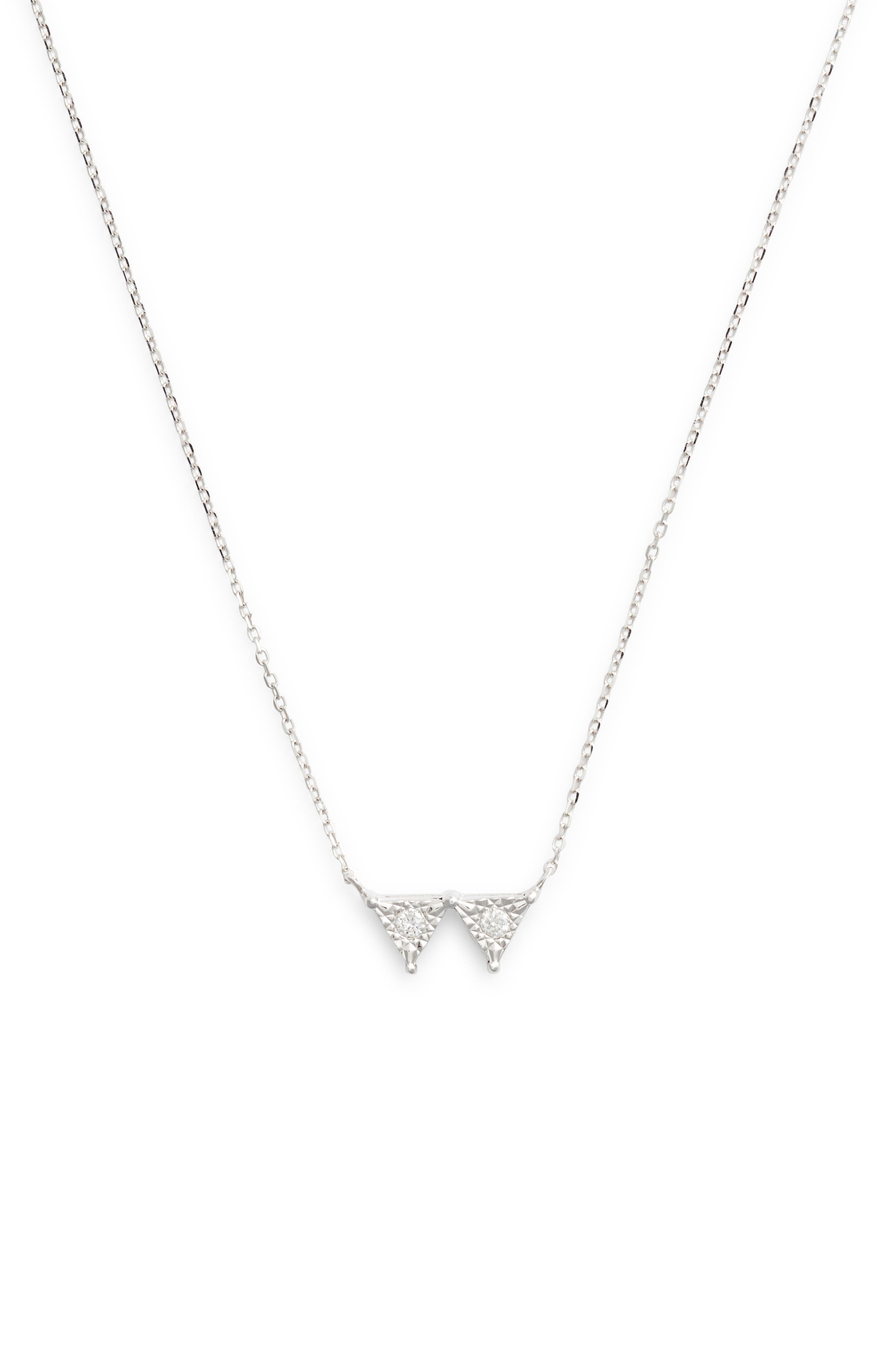 Emily Sarah Double Triangle Diamond Necklace,                             Main thumbnail 1, color,                             711