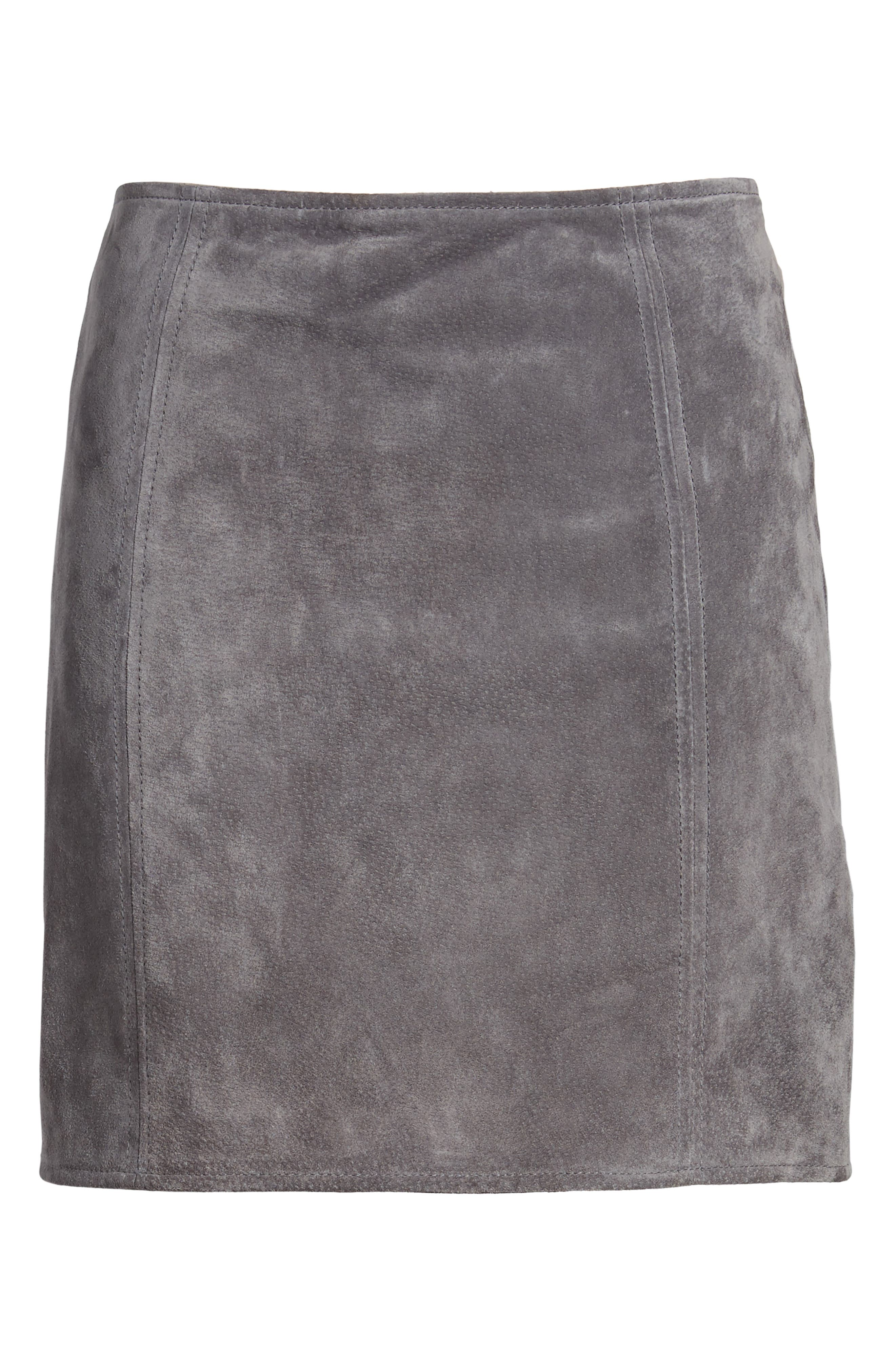 A-Line Suede Skirt,                             Alternate thumbnail 6, color,                             SILVER SCREEN