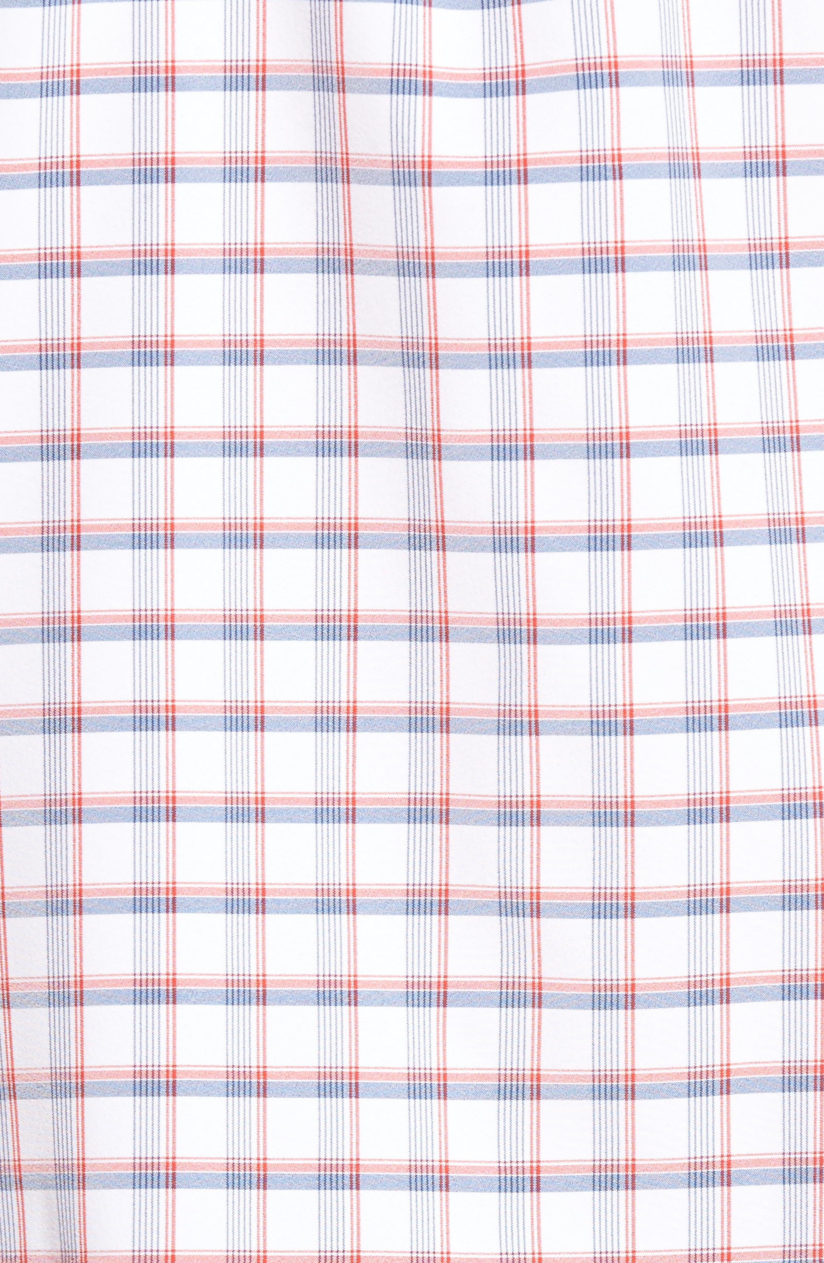Sanford Slim Fit Plaid Performance Sport Shirt,                             Alternate thumbnail 5, color,                             600