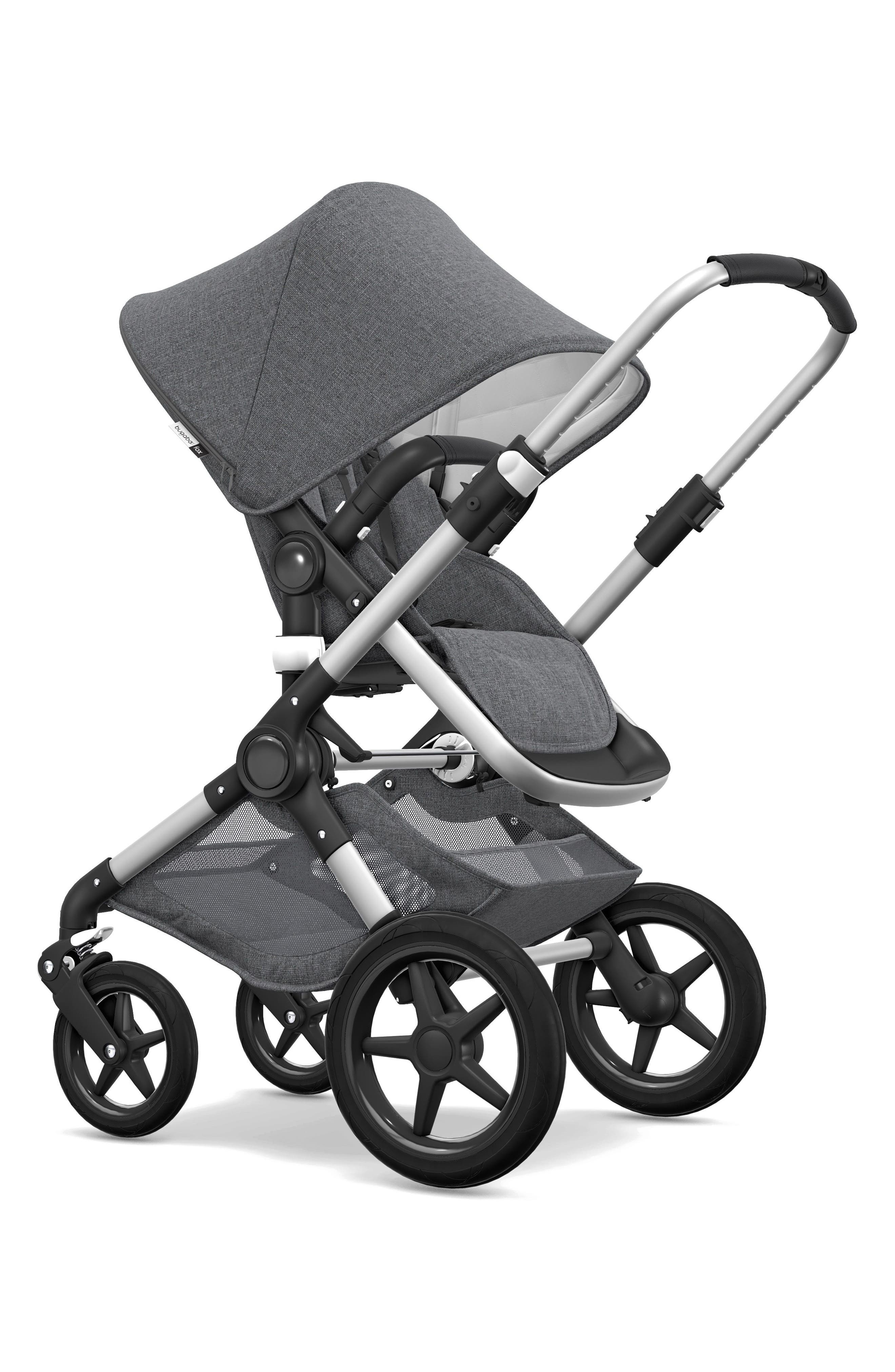 Fox Classic Complete Stroller with Bassinet,                             Alternate thumbnail 3, color,                             GREY MELANGE/ ALUMINUM