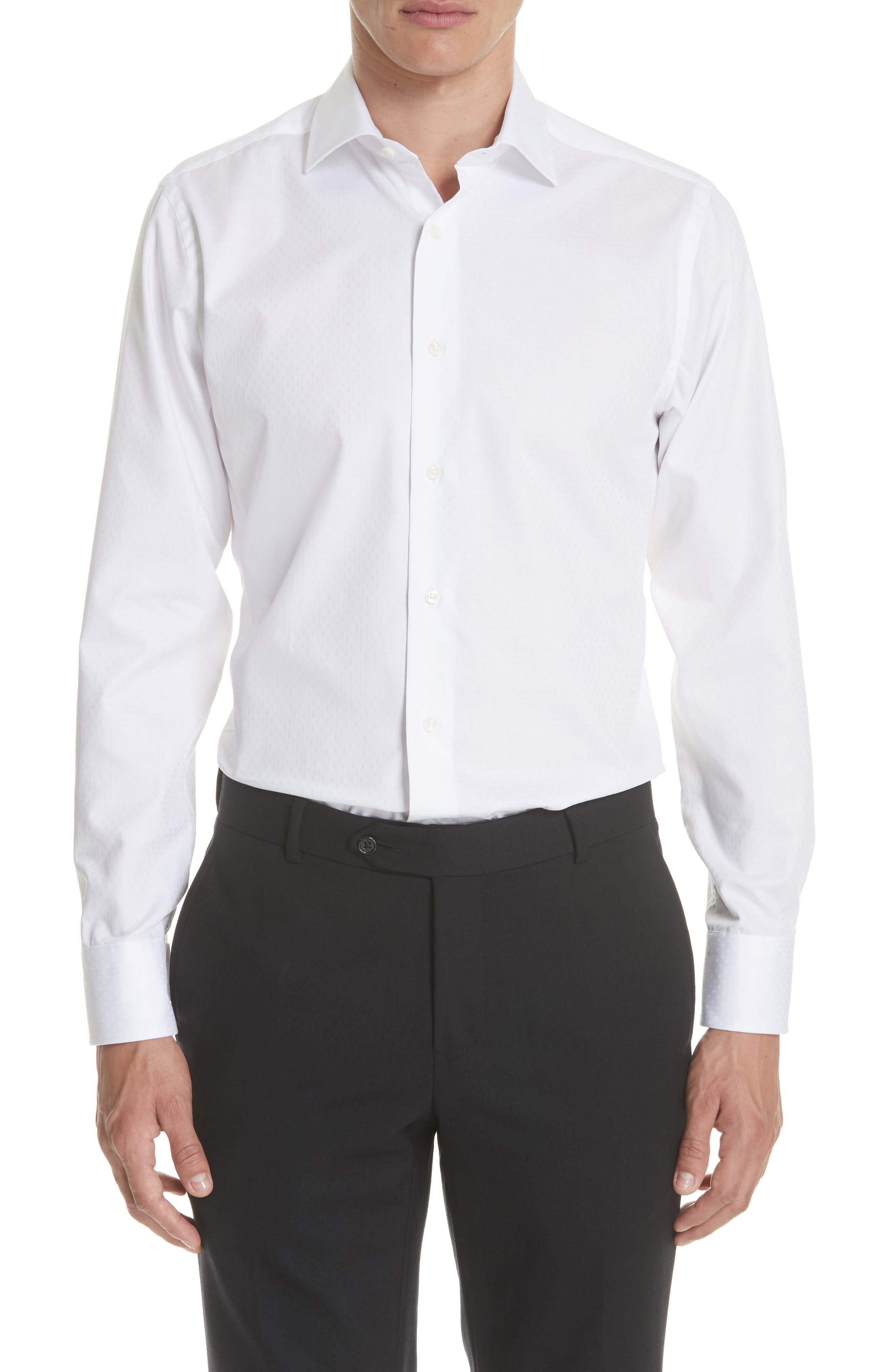 CANALI Regular Fit Solid Dress Shirt, Main, color, 100