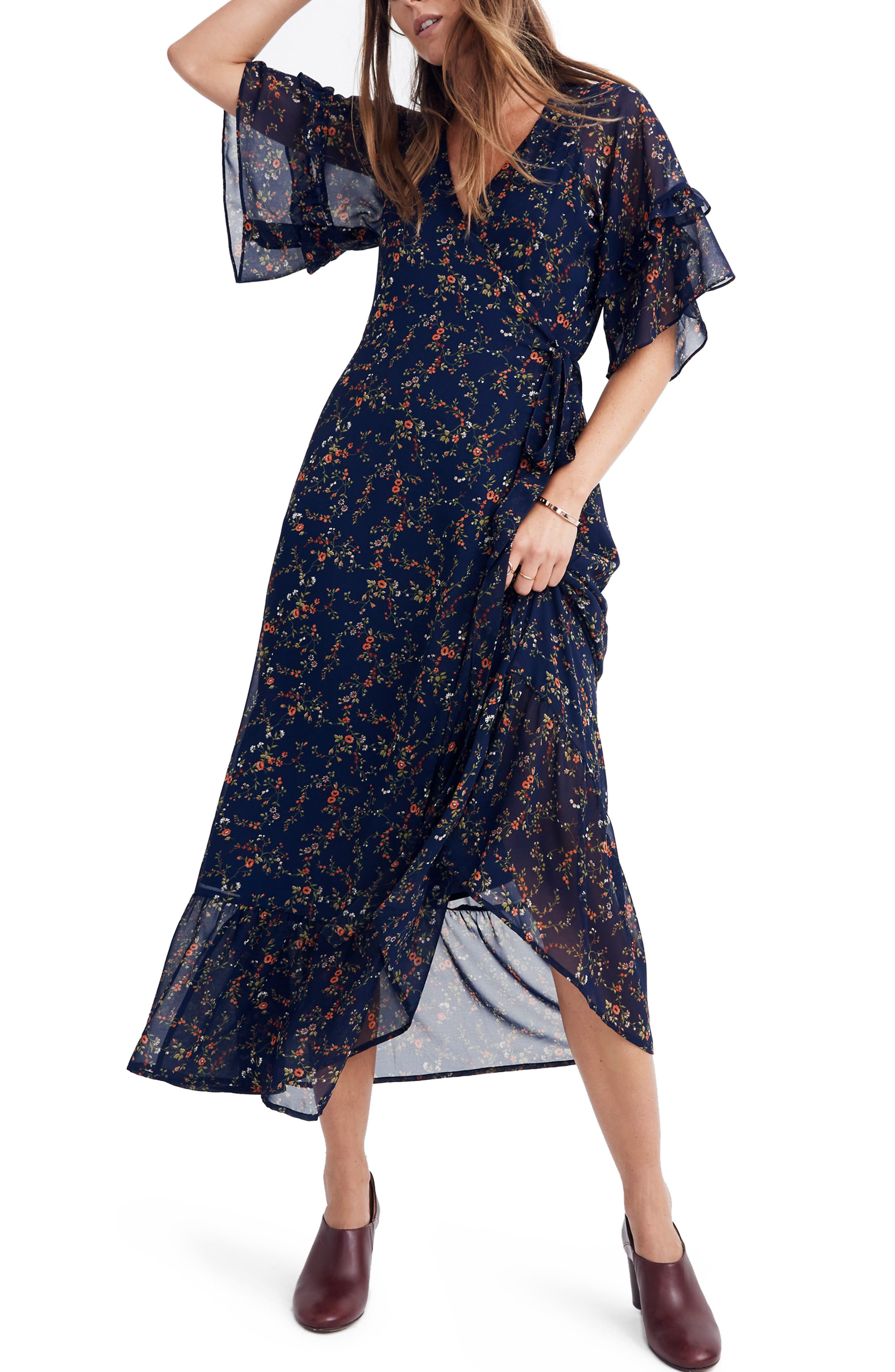 Vervain Ruffle Sleeve Wrap Dress,                         Main,                         color, WHISPER MOONLESS NIGHT