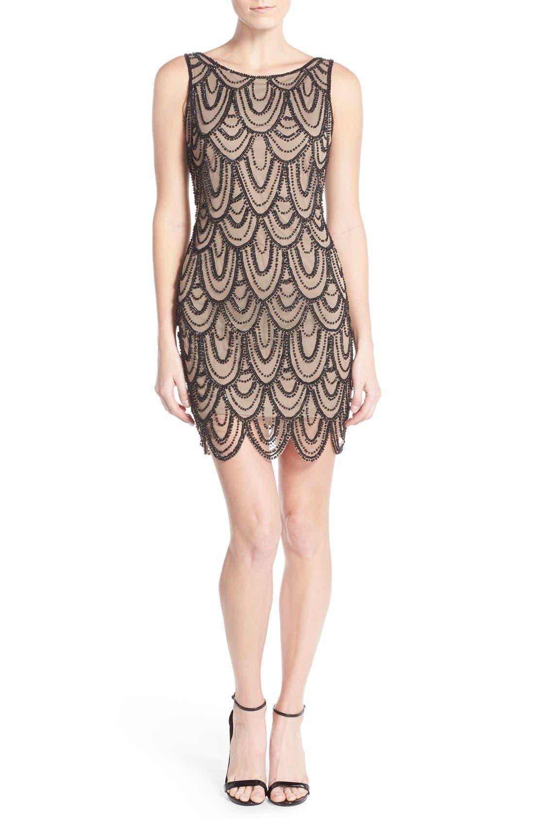 Embellished Mesh Sheath Dress,                             Alternate thumbnail 70, color,