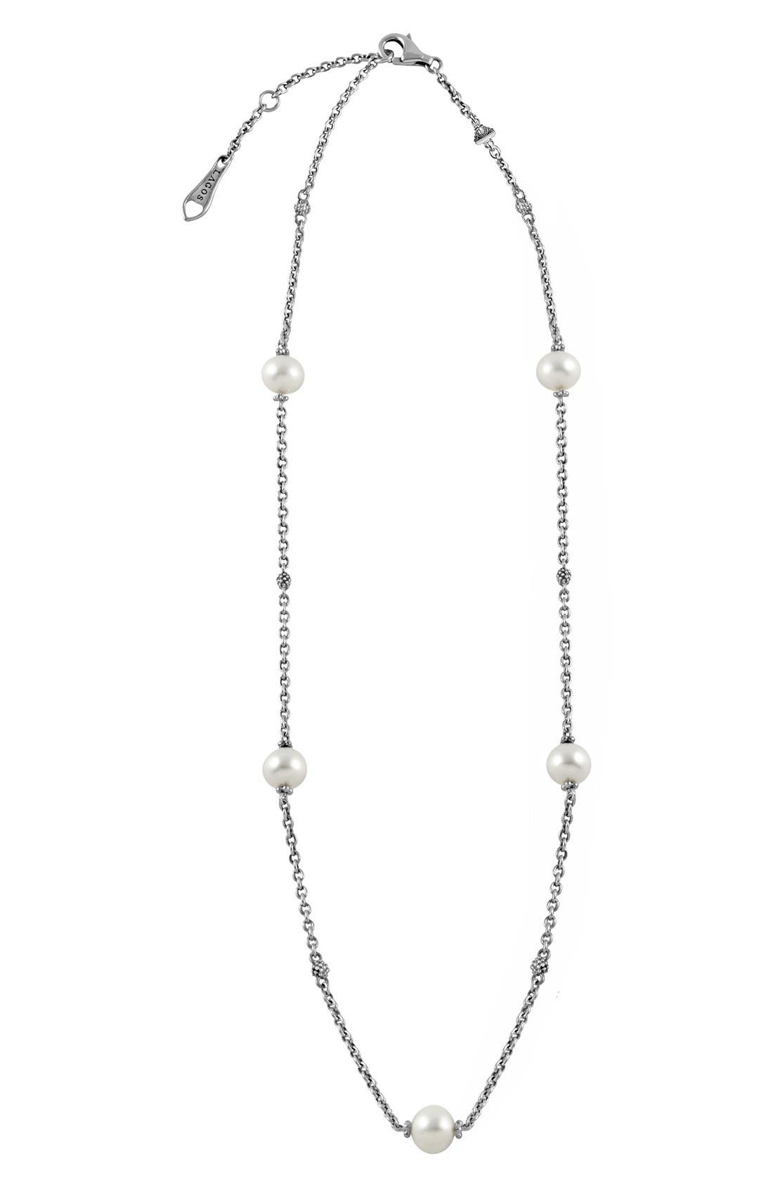 'Luna' Pearl Station Necklace,                         Main,                         color, SILVER/ PEARL
