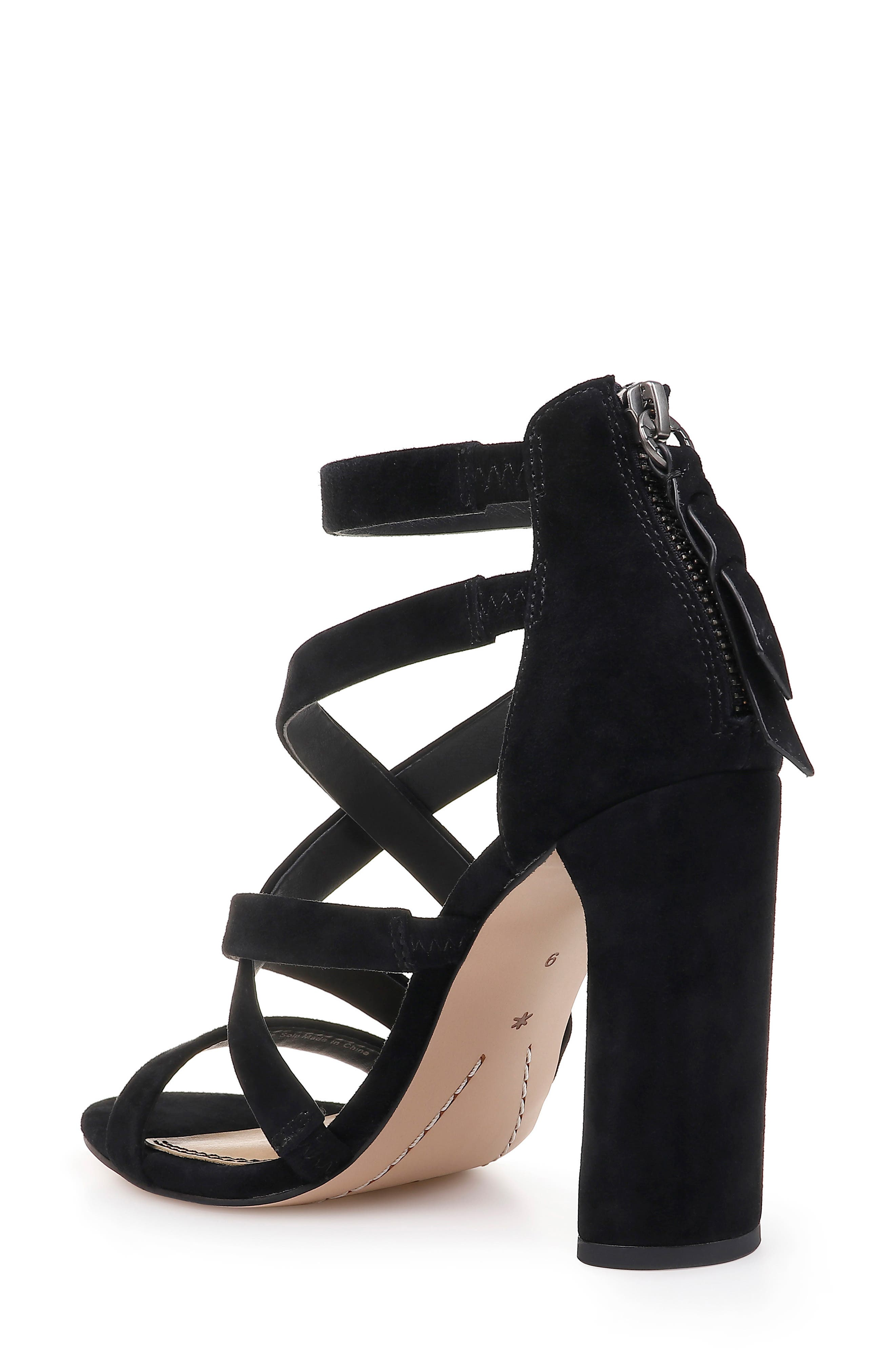 Stuart Block Heel Sandal,                             Alternate thumbnail 2, color,                             BLACK SUEDE