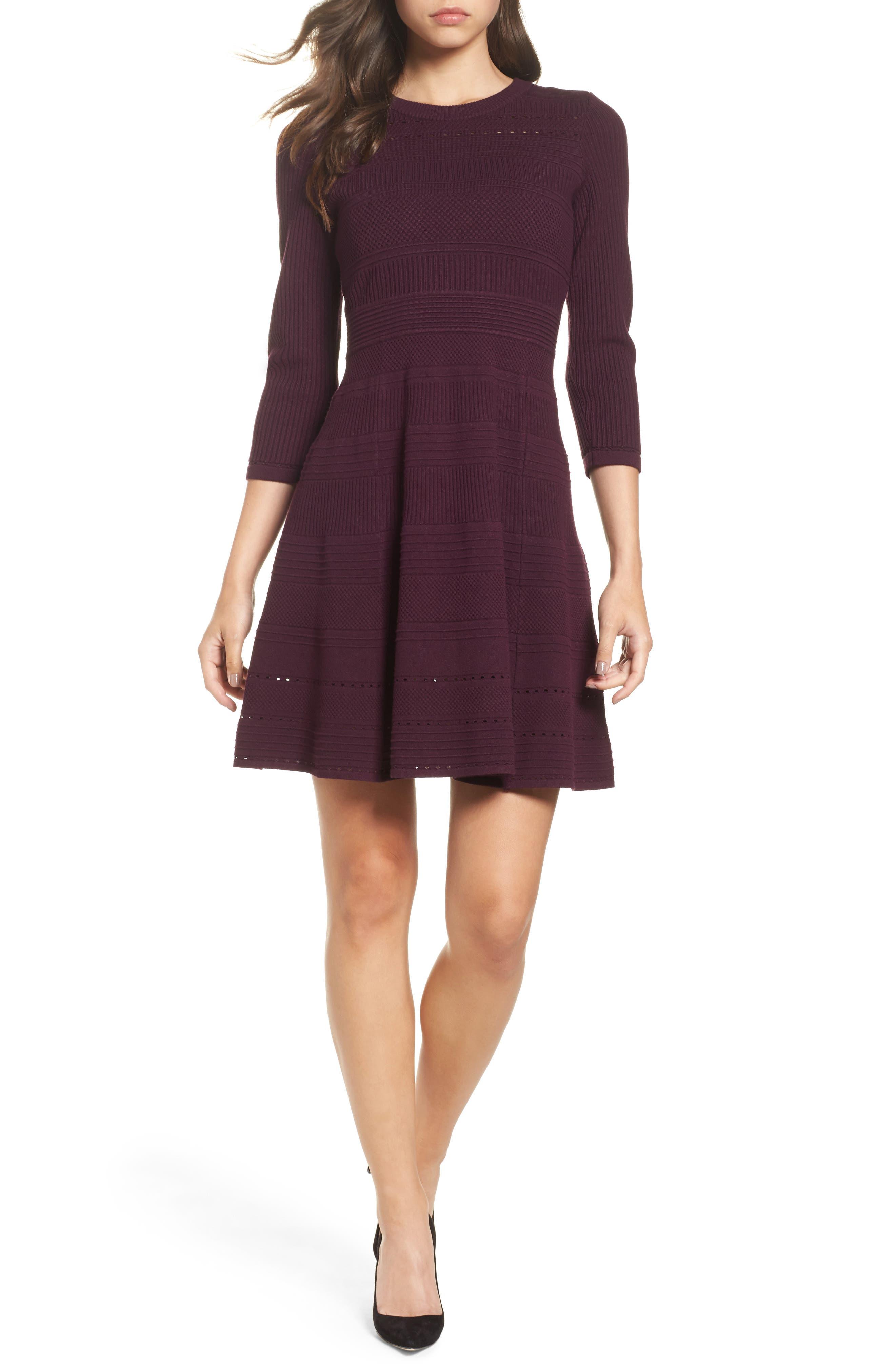 Eliza J Fit & Flare Sweater Dress, Burgundy
