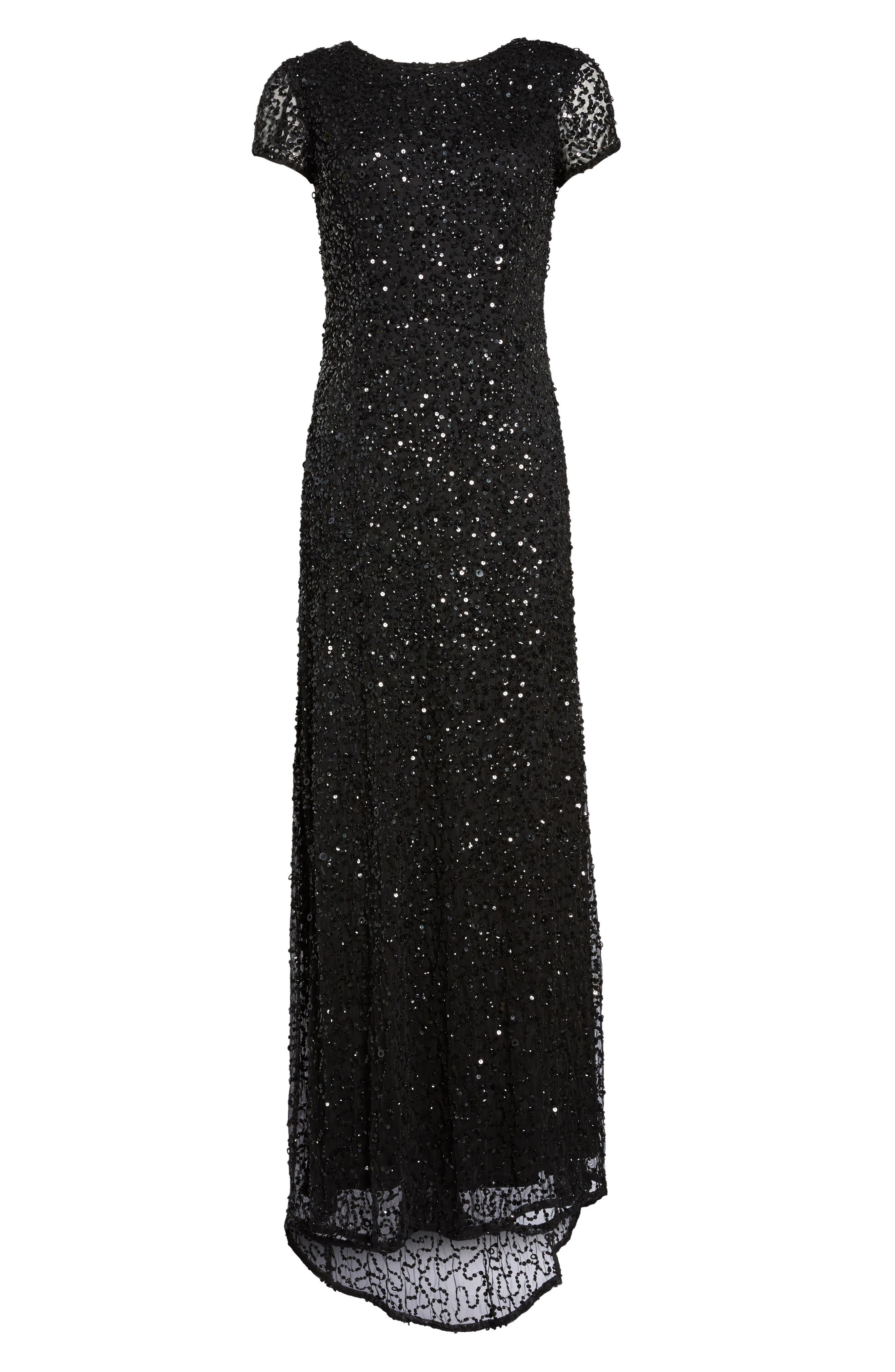 ADRIANNA PAPELL Short Sleeve Sequin Mesh Gown, Main, color, 002