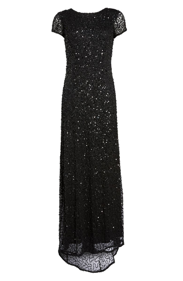 Adrianna Papell Short Sleeve Sequin Mesh Gown  1b1112aab