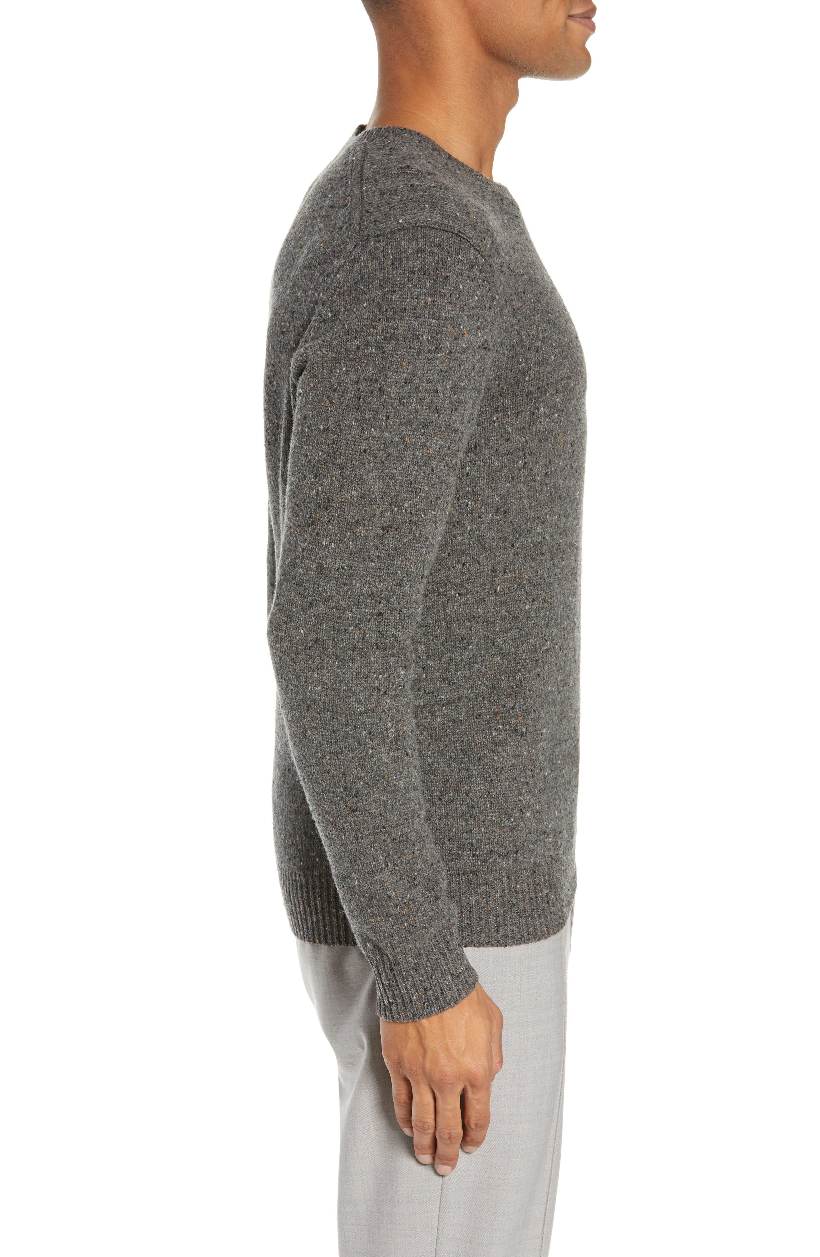 Jaxon Trim Fit Wool Sweater,                             Alternate thumbnail 3, color,                             GREY MULTI