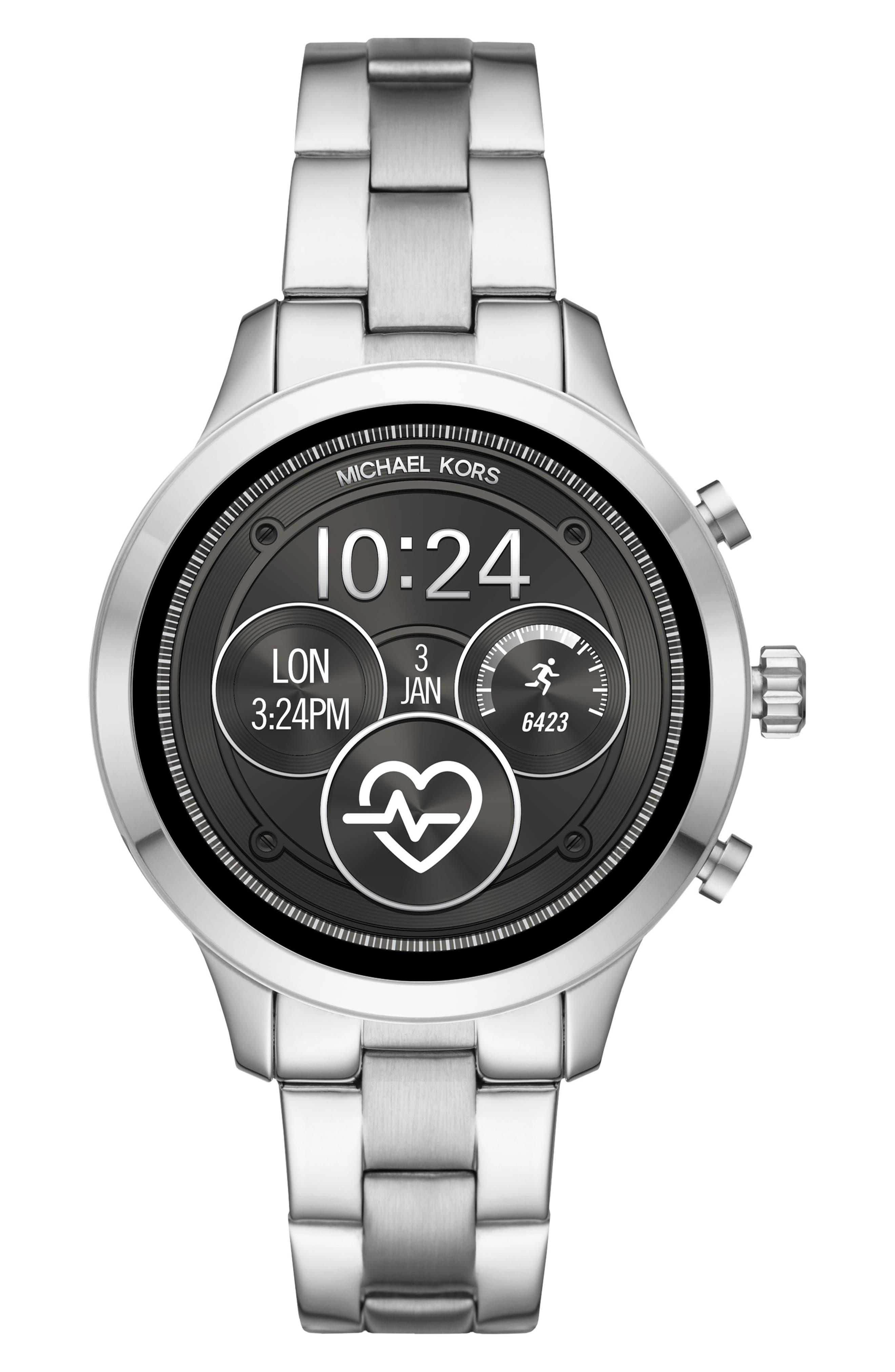 MICHAEL Michael Kors Access Runway Smart Bracelet Watch, 41mm,                             Main thumbnail 1, color,                             SILVER