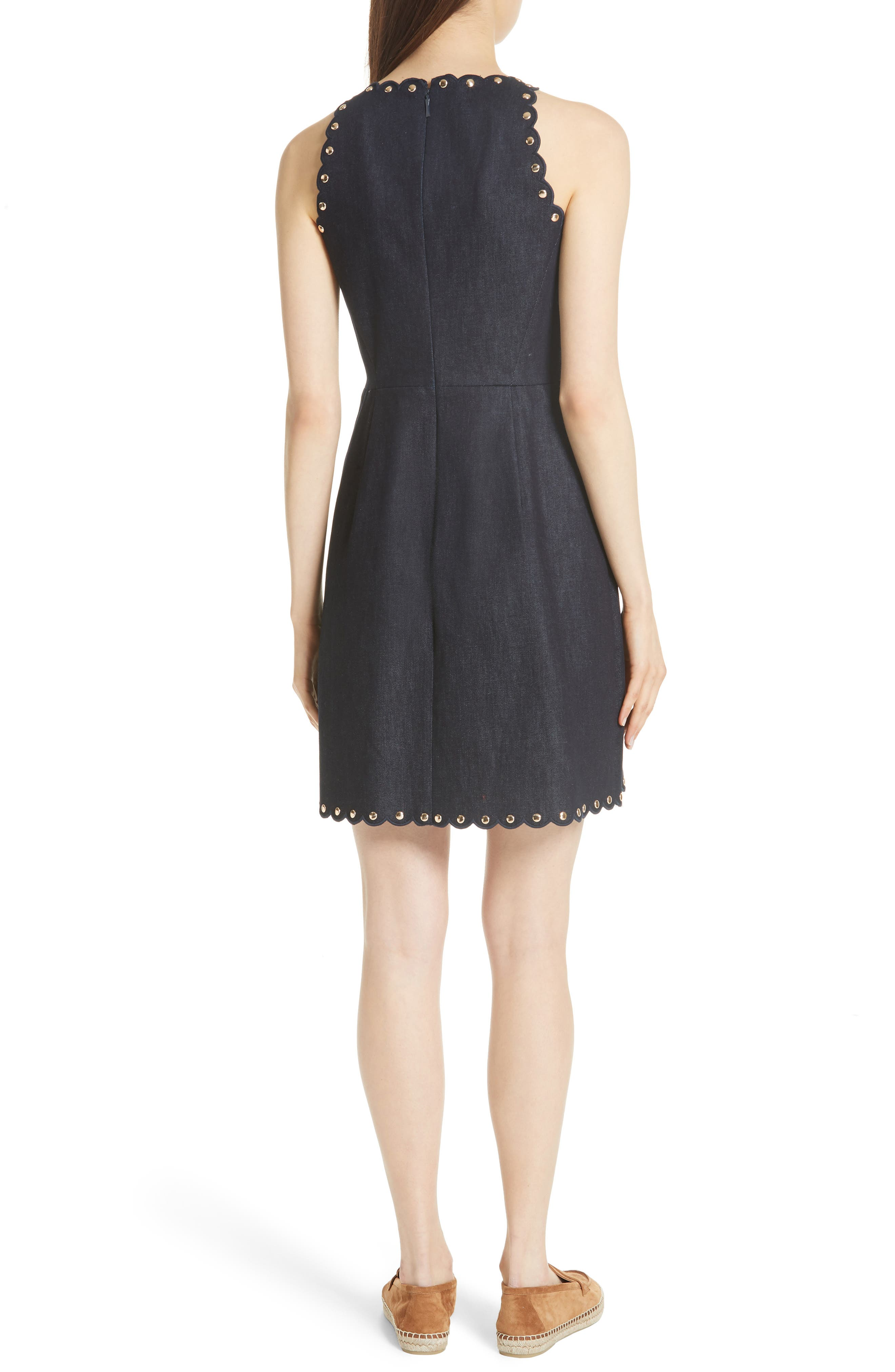 rivet detail denim fit & flare dress,                             Alternate thumbnail 2, color,                             INDIGO