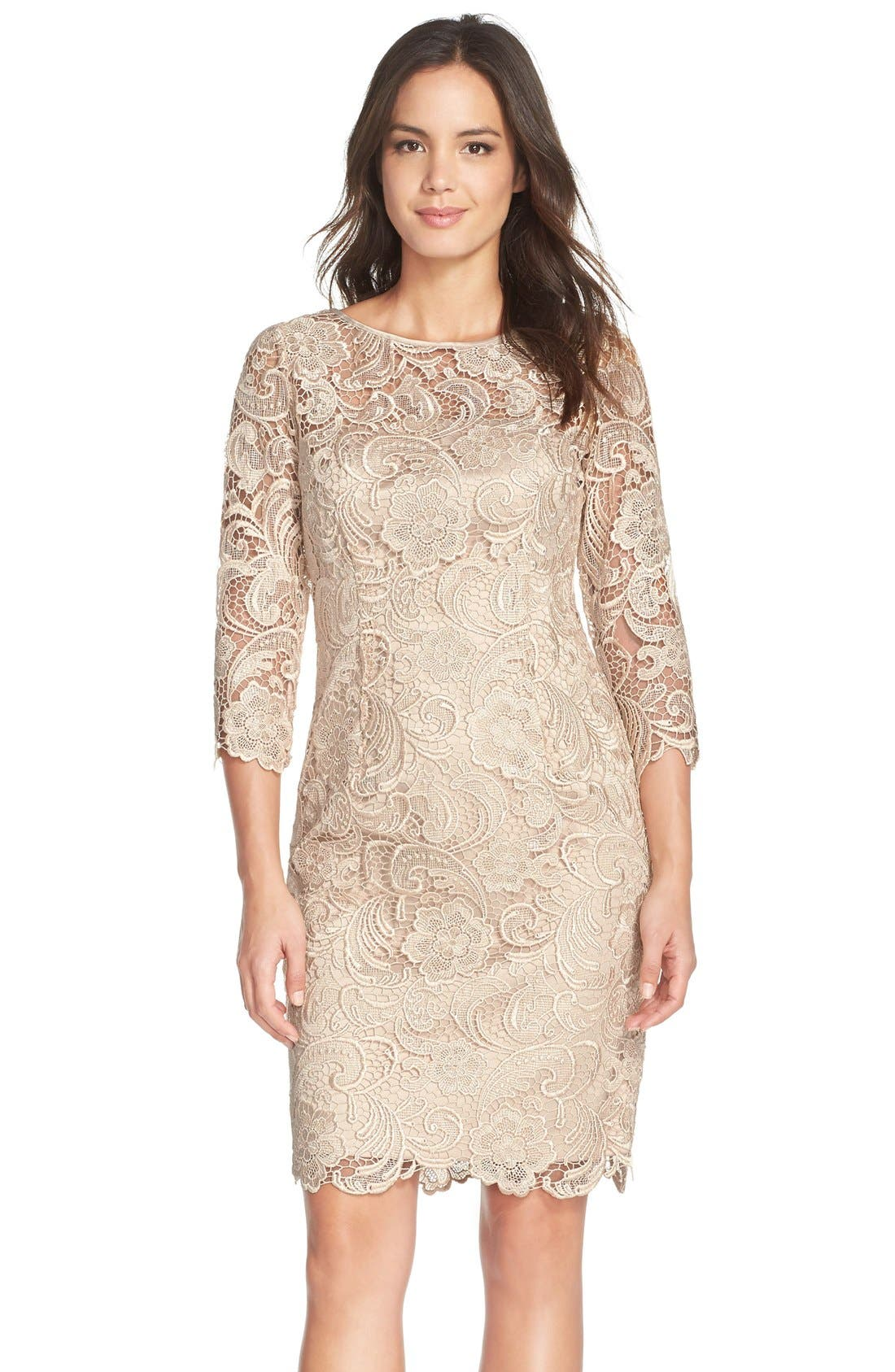 ADRIANNA PAPELL Illusion Yoke Guipure Lace Sheath Dress, Main, color, 250