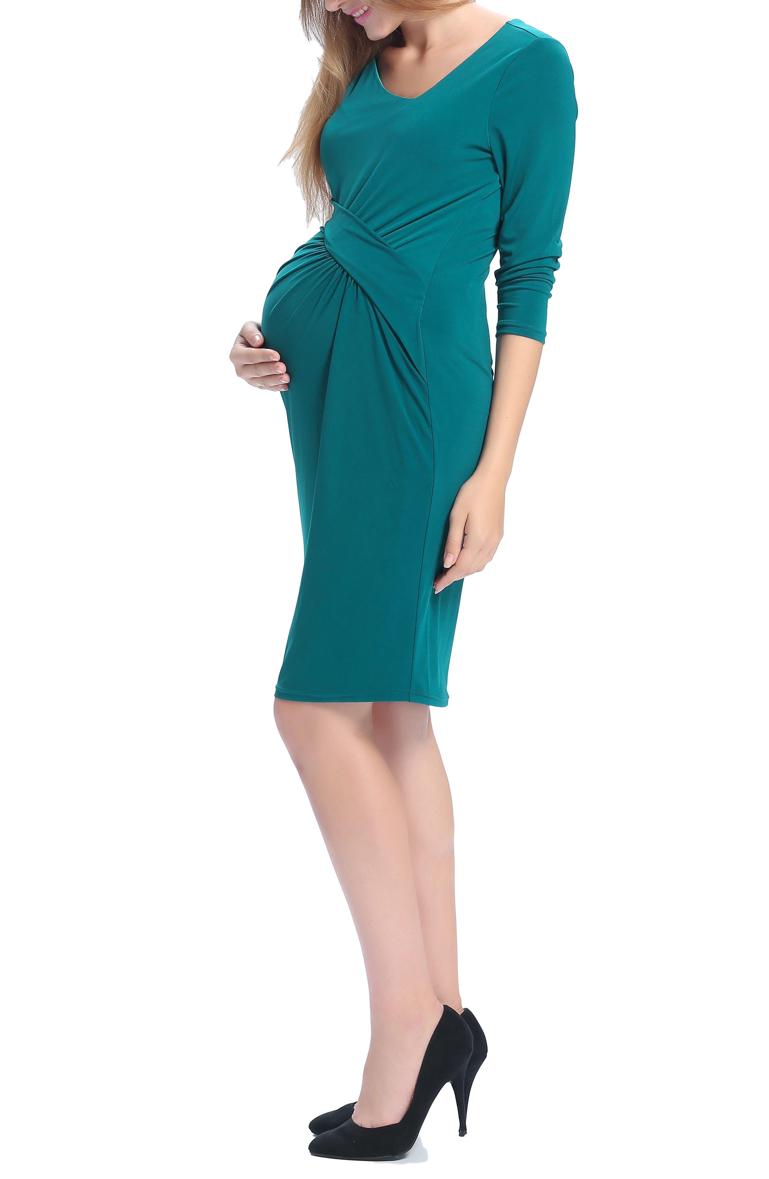 Teagan Body-Con Maternity Dress,                             Alternate thumbnail 3, color,                             TEAL