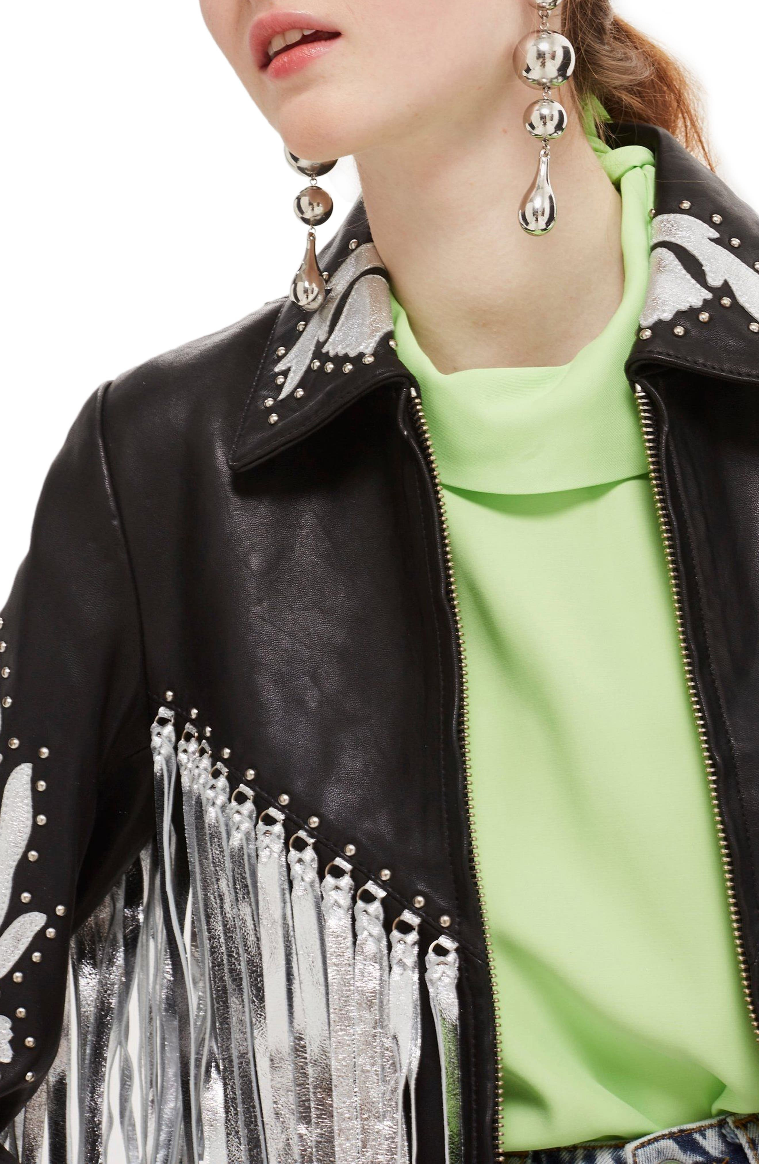 Austin Floral Silver Fringed Leather Jacket,                             Alternate thumbnail 3, color,                             001
