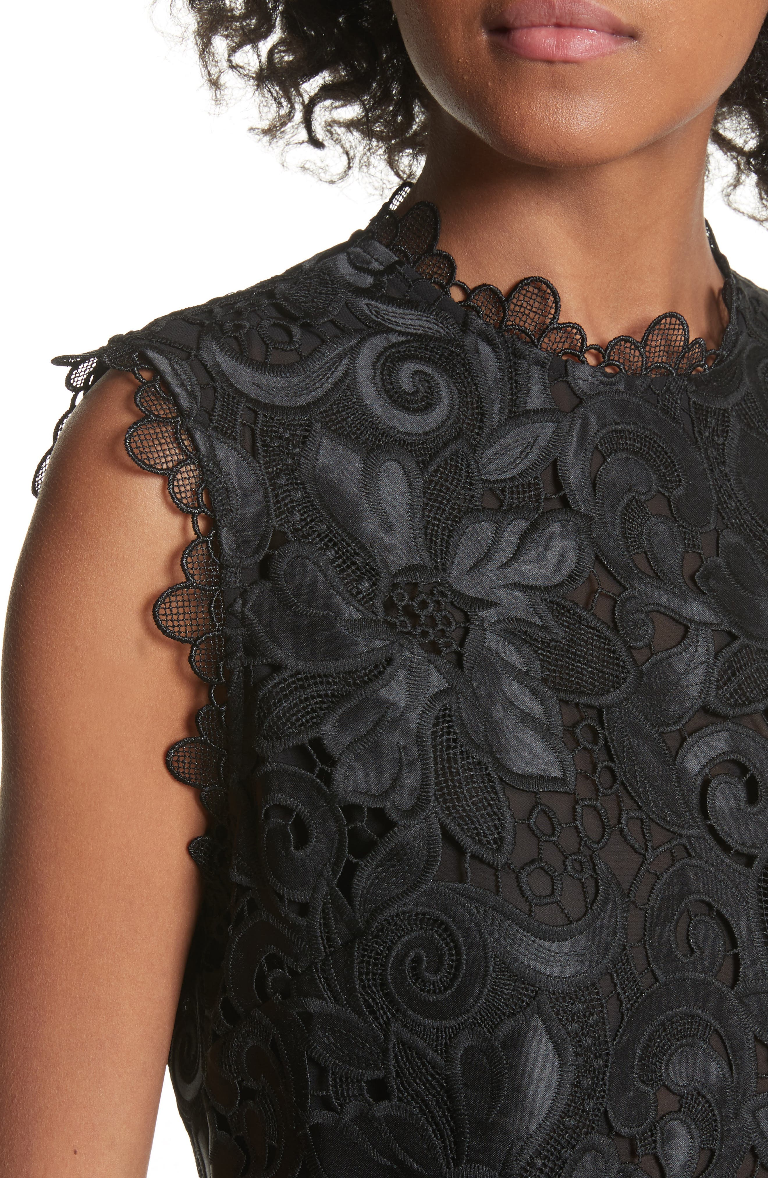 Scalloped Lace Top,                             Alternate thumbnail 4, color,                             001