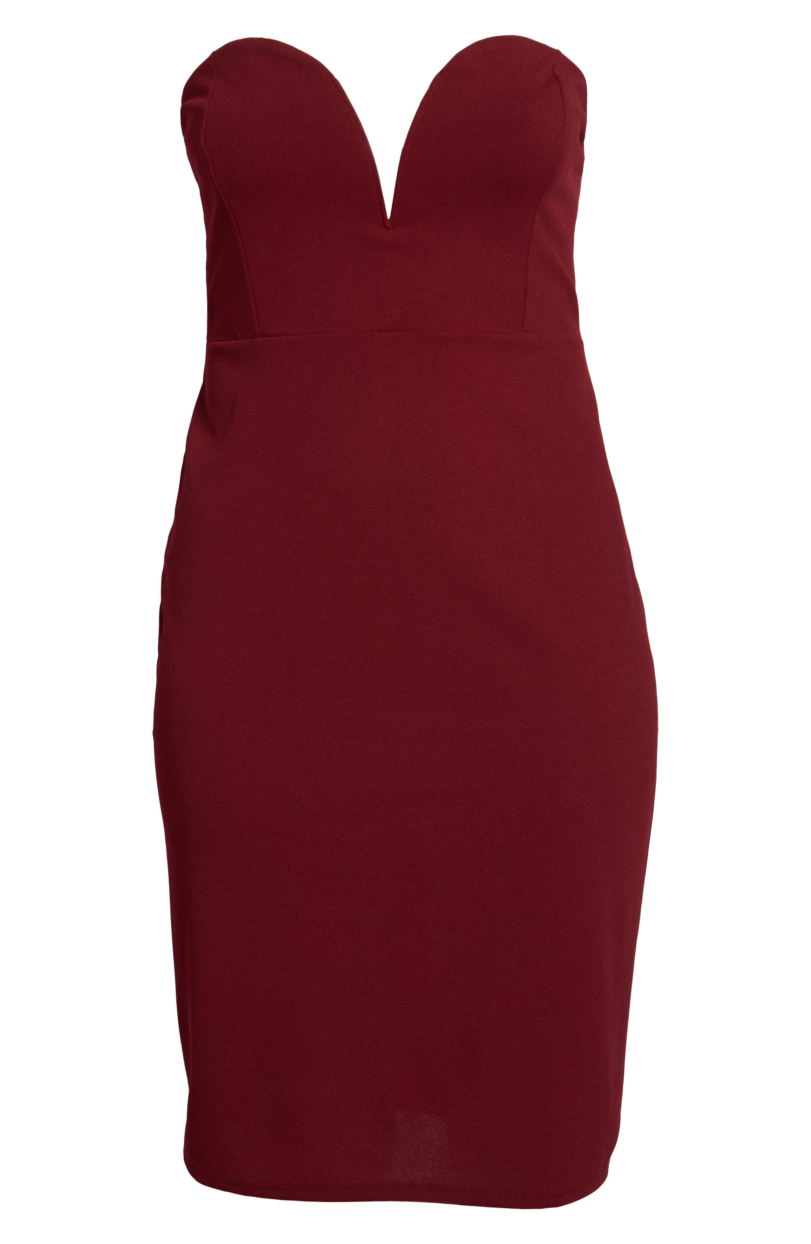 LEITH,                             Strapless Sheath Dress,                             Alternate thumbnail 7, color,                             RED GRAPE