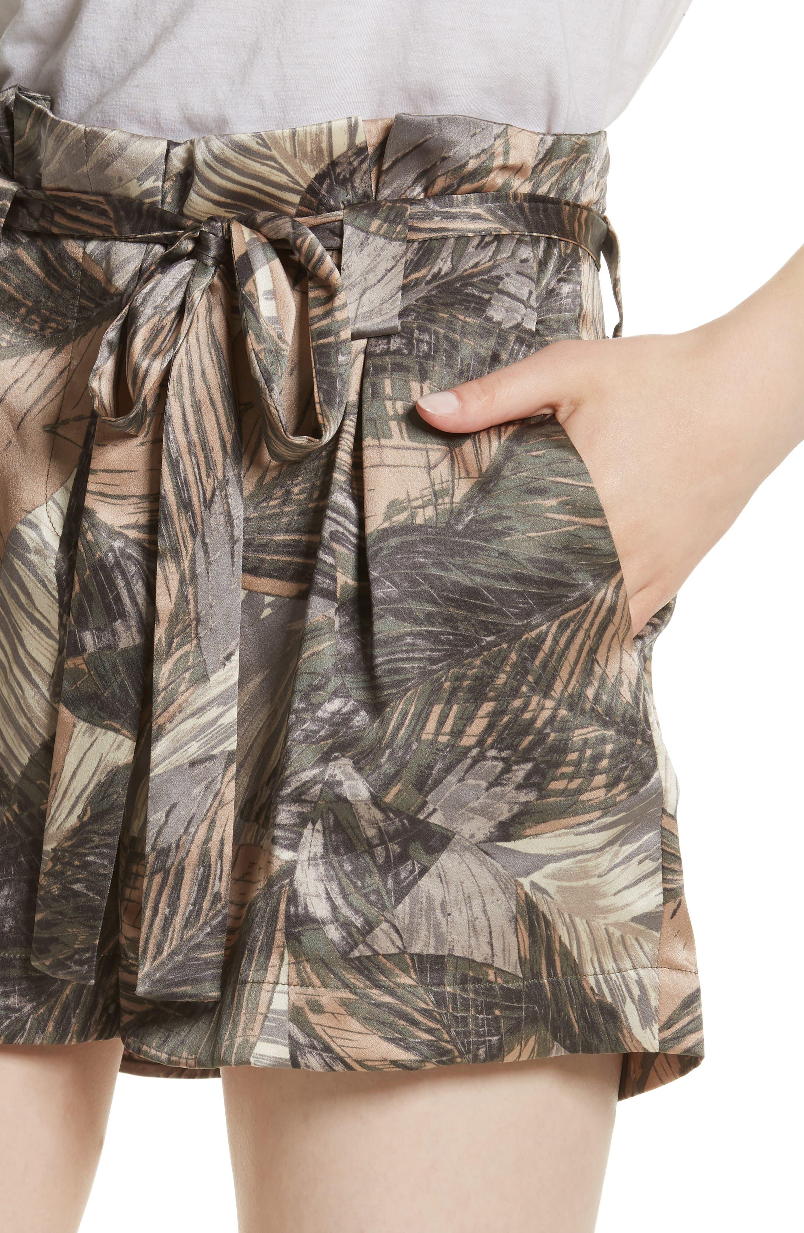 Alex Palm Print Silk Paperbag Shorts,                             Alternate thumbnail 4, color,
