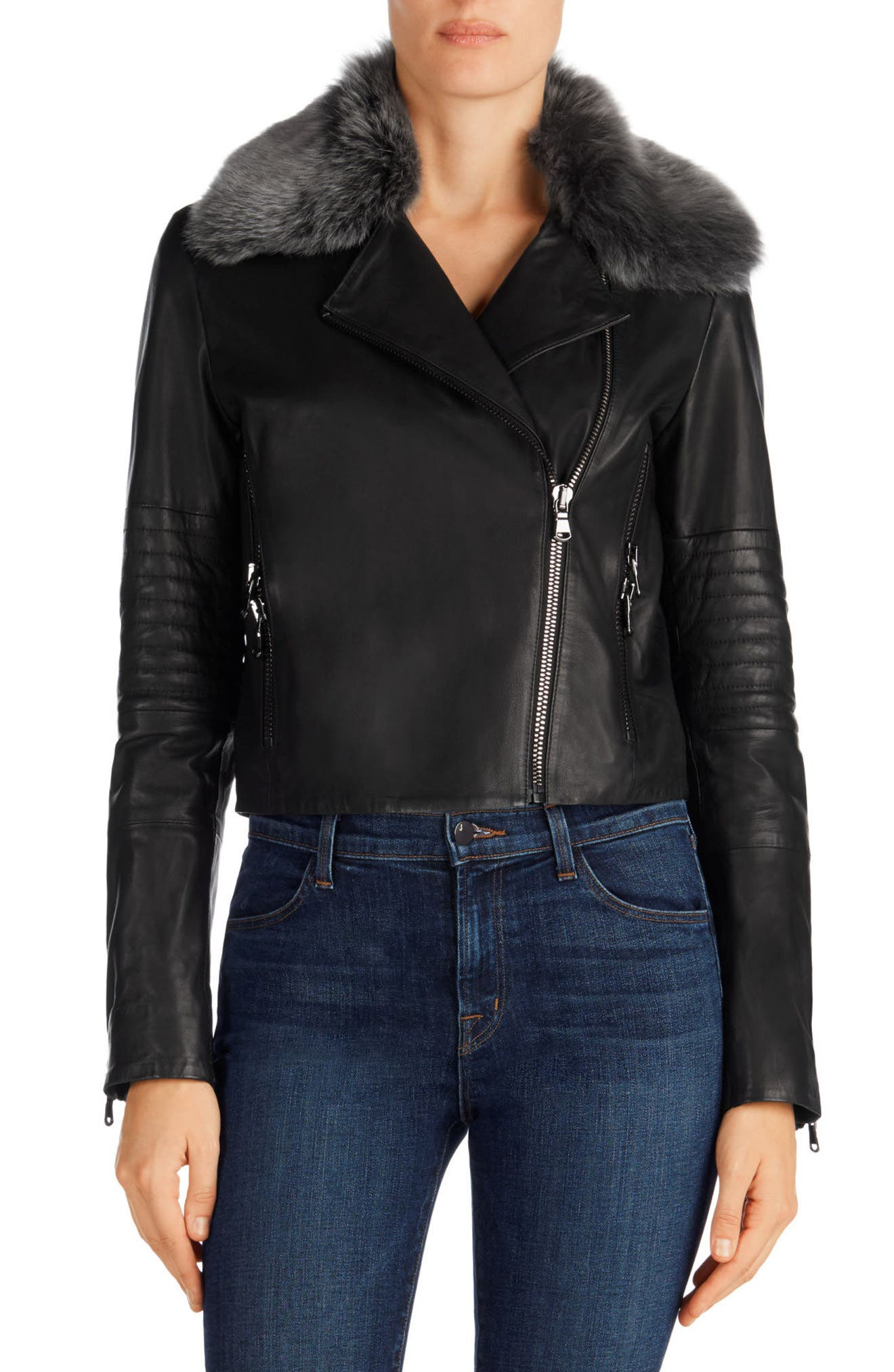Aiah Leather Moto Jacket with Detachable Lamb Shearling Collar, Main, color, 001